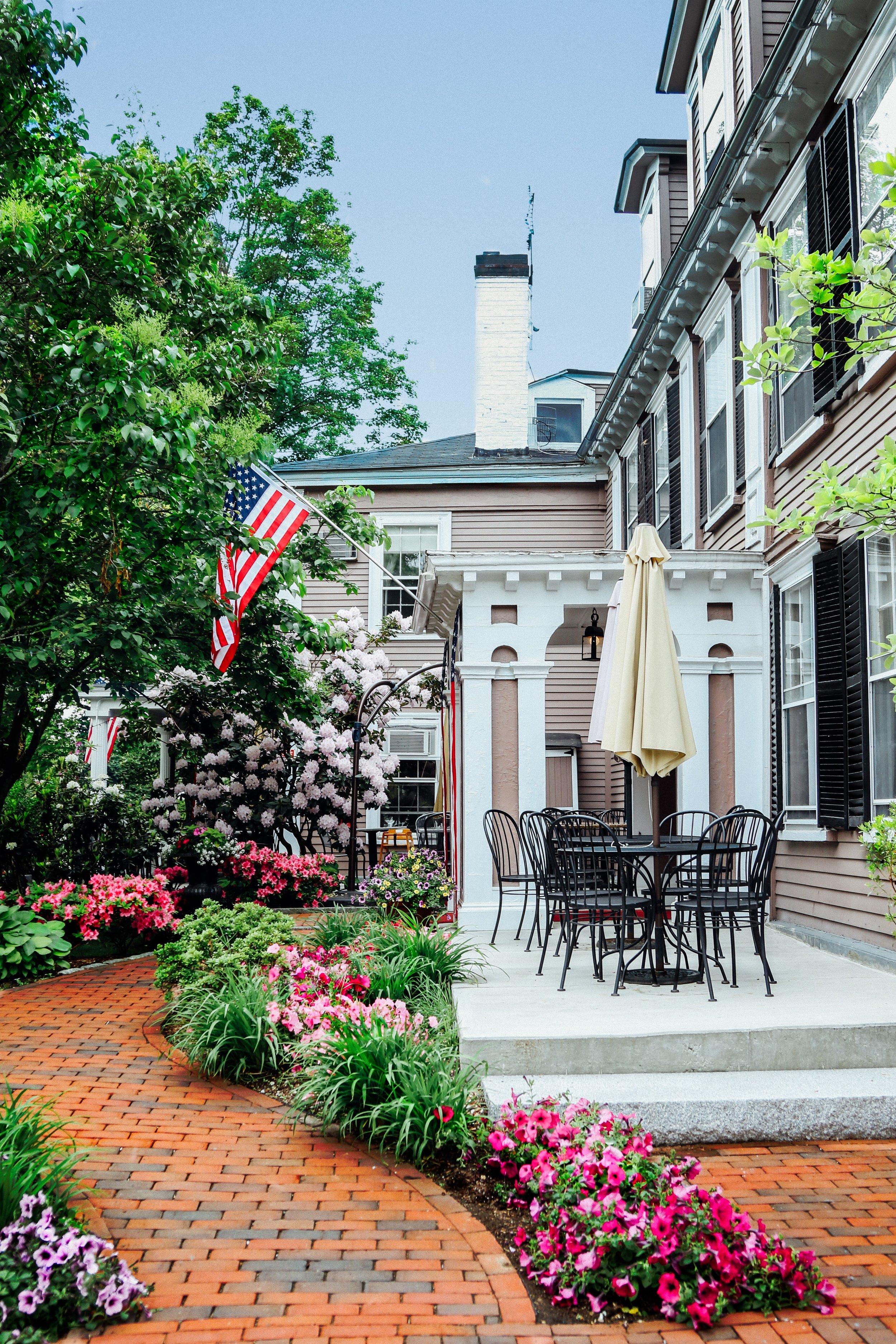 Side porch view of Concord's Colonial Inn, Concord MA.