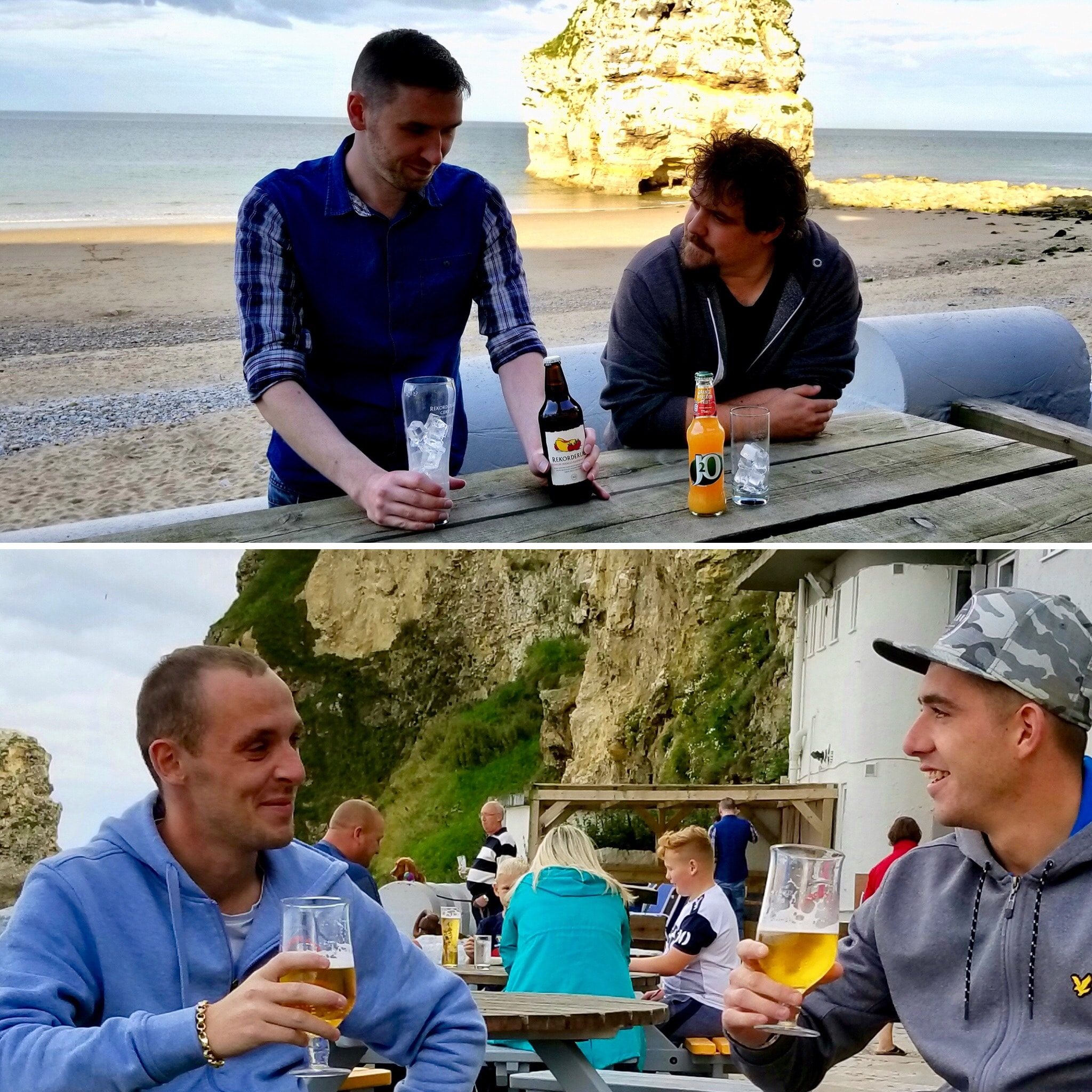 Sunsets from the Grotto are spectacular. Top image Matthew James Arkle and Mark Fisher soak up the sun at happy hour. and bottom, locals enjoy a pint on the patio. (Image credit: Michael Mackie).