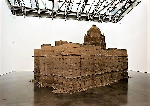 Sand structure replica of the former HSBC Bank in Shanghai, built in 1923 . Work by artist Huang Yong Ping. 2018