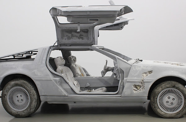 Daniel Arsham's pop culture car from  Back to the Future  (1985) ,  becomes a dystopian decayed DeLorean vision, rendered with crystal.