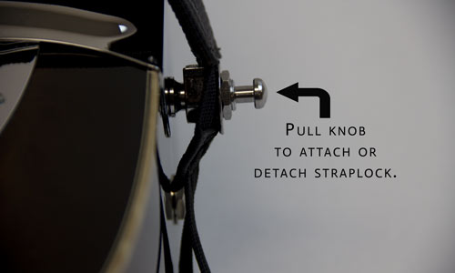 6) Pull knob and slide Straplock shoe over the strap button.  It should click when seated properly.  Note:  Again, do not use leash with Straplocks.