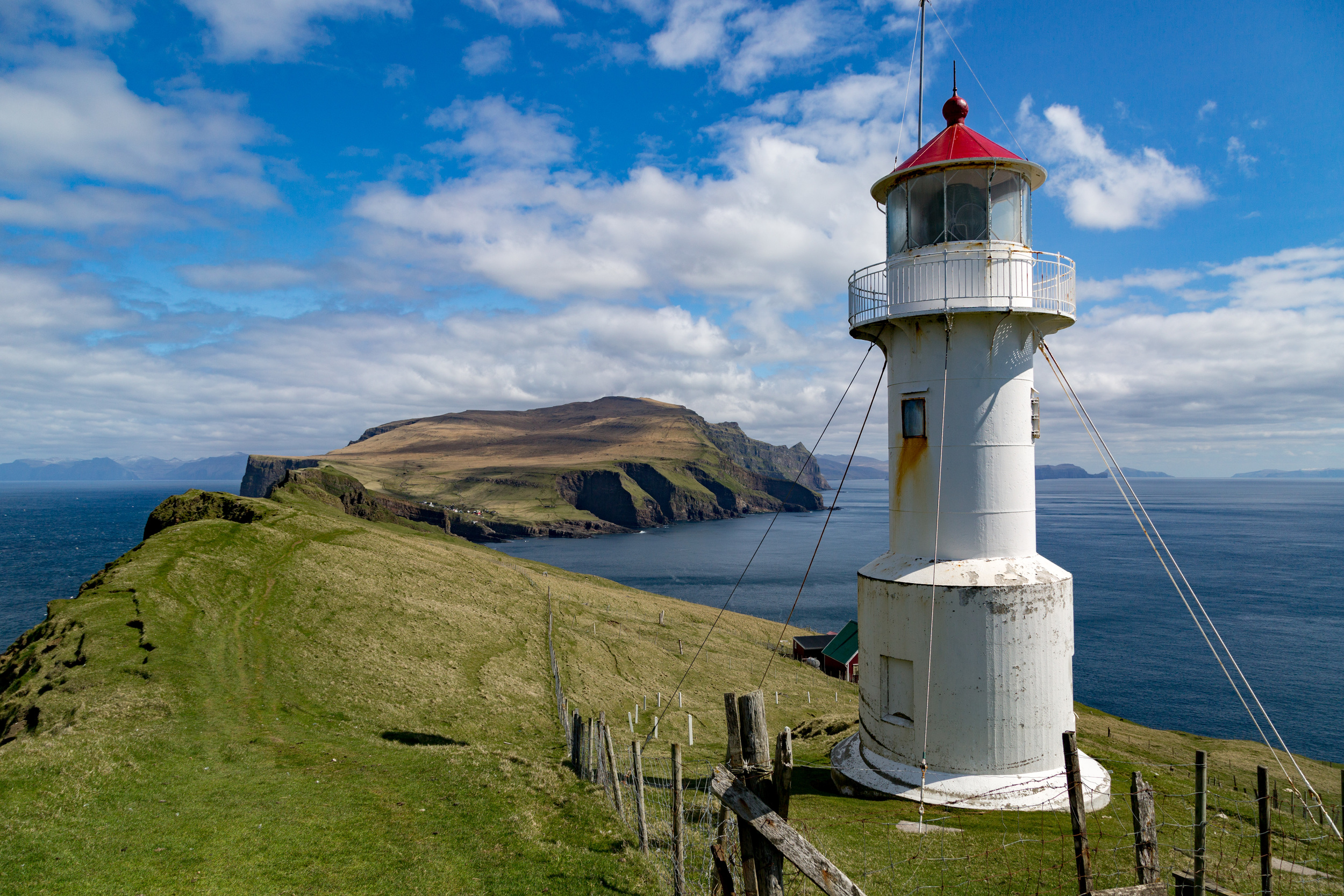 The Lighthouse near the Western End of Mykines. It served as an observation point, alerting the British troops on the island during World War II to the presence of German Ships.