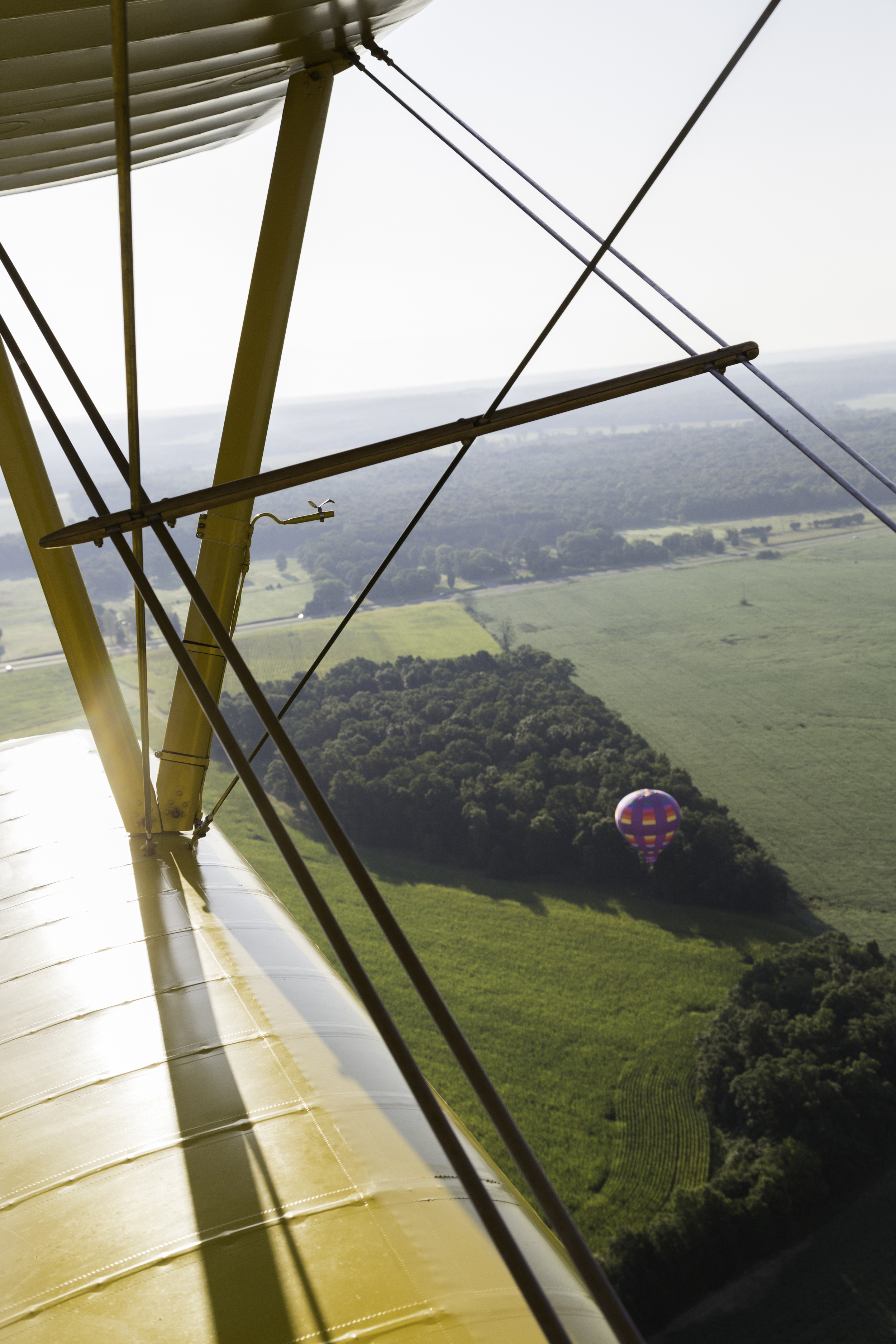 One of the Balloons Coming in to land in one of the fields surrounding the Flying Circus