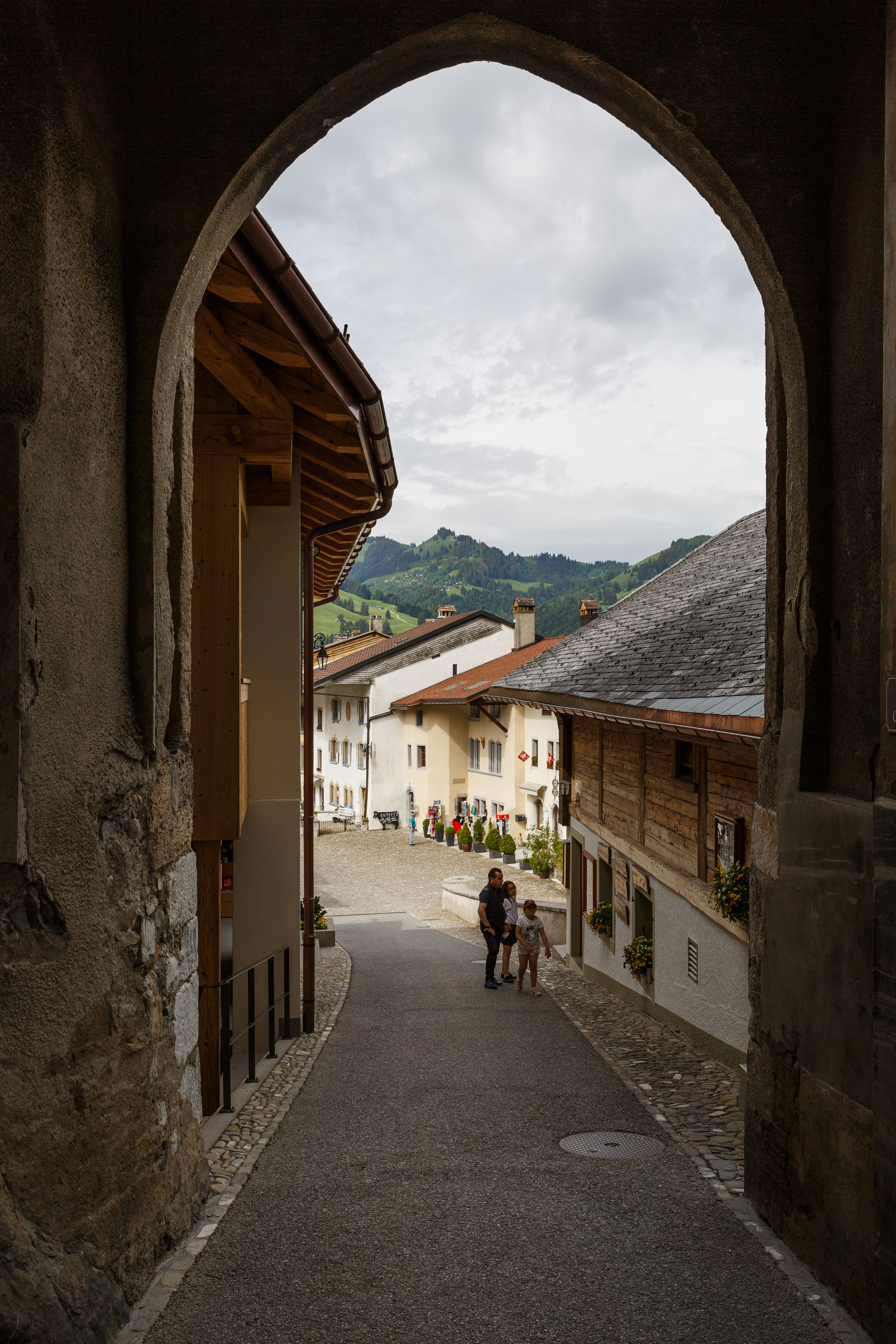 Looking back at Gruyeres from the entrance to the Castle
