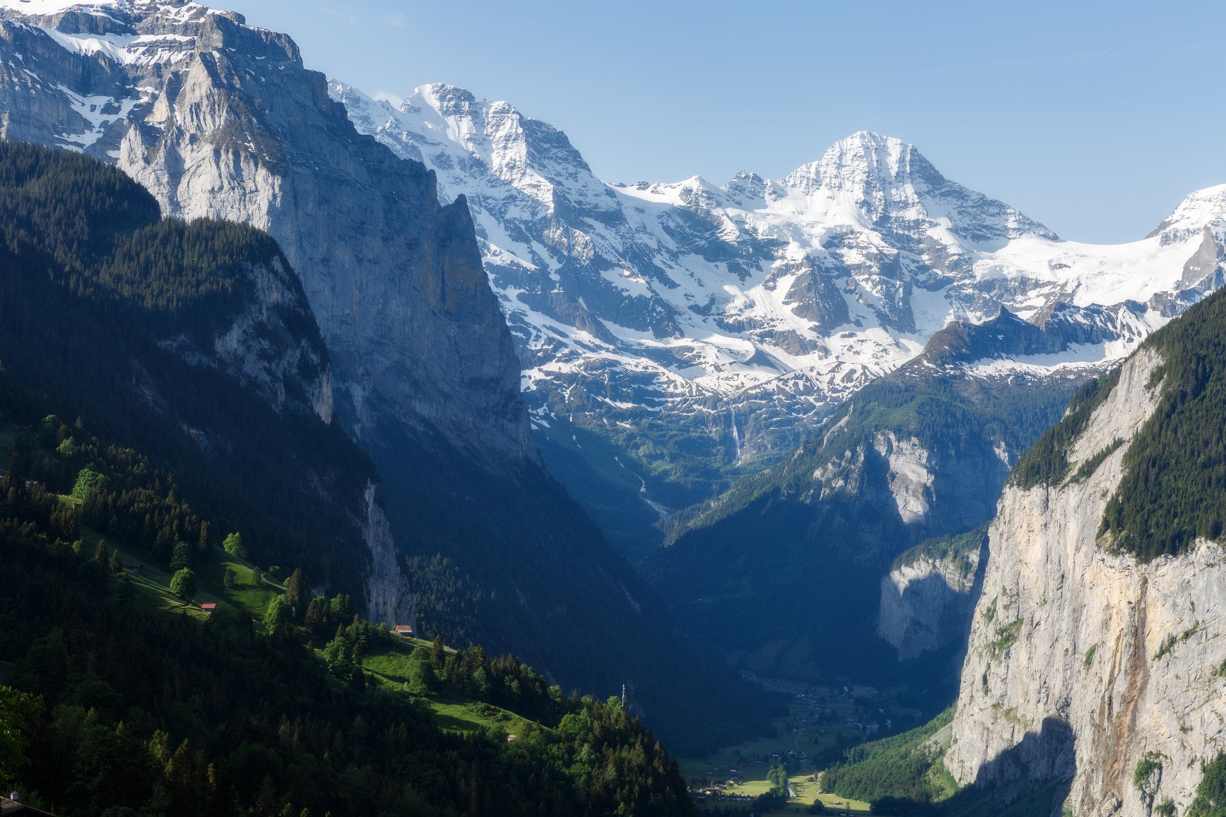 Morning Light on the Mountains Over Lauterbrunnen