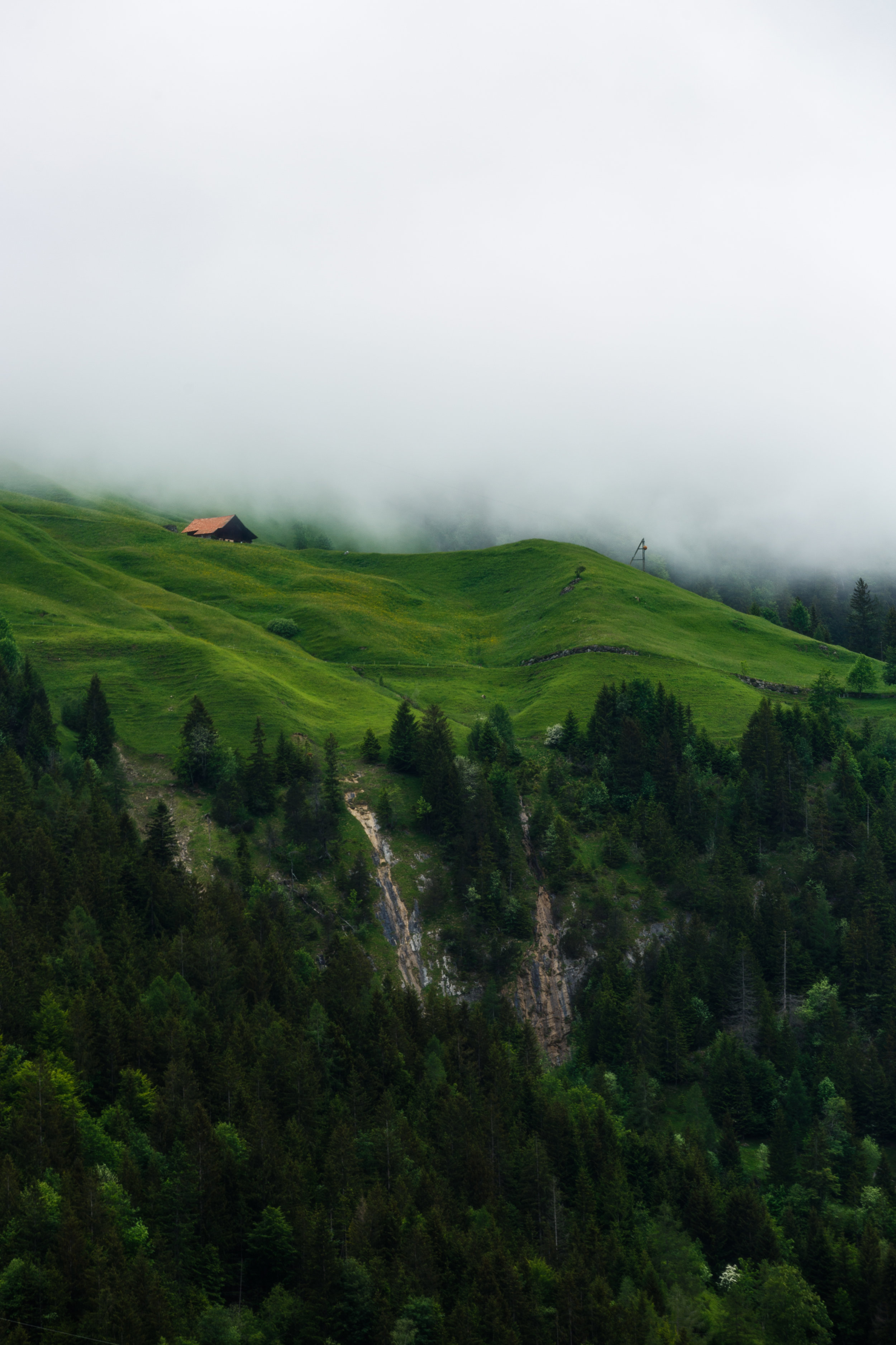 Clouds Hovering Low in the Valley Near Blausee
