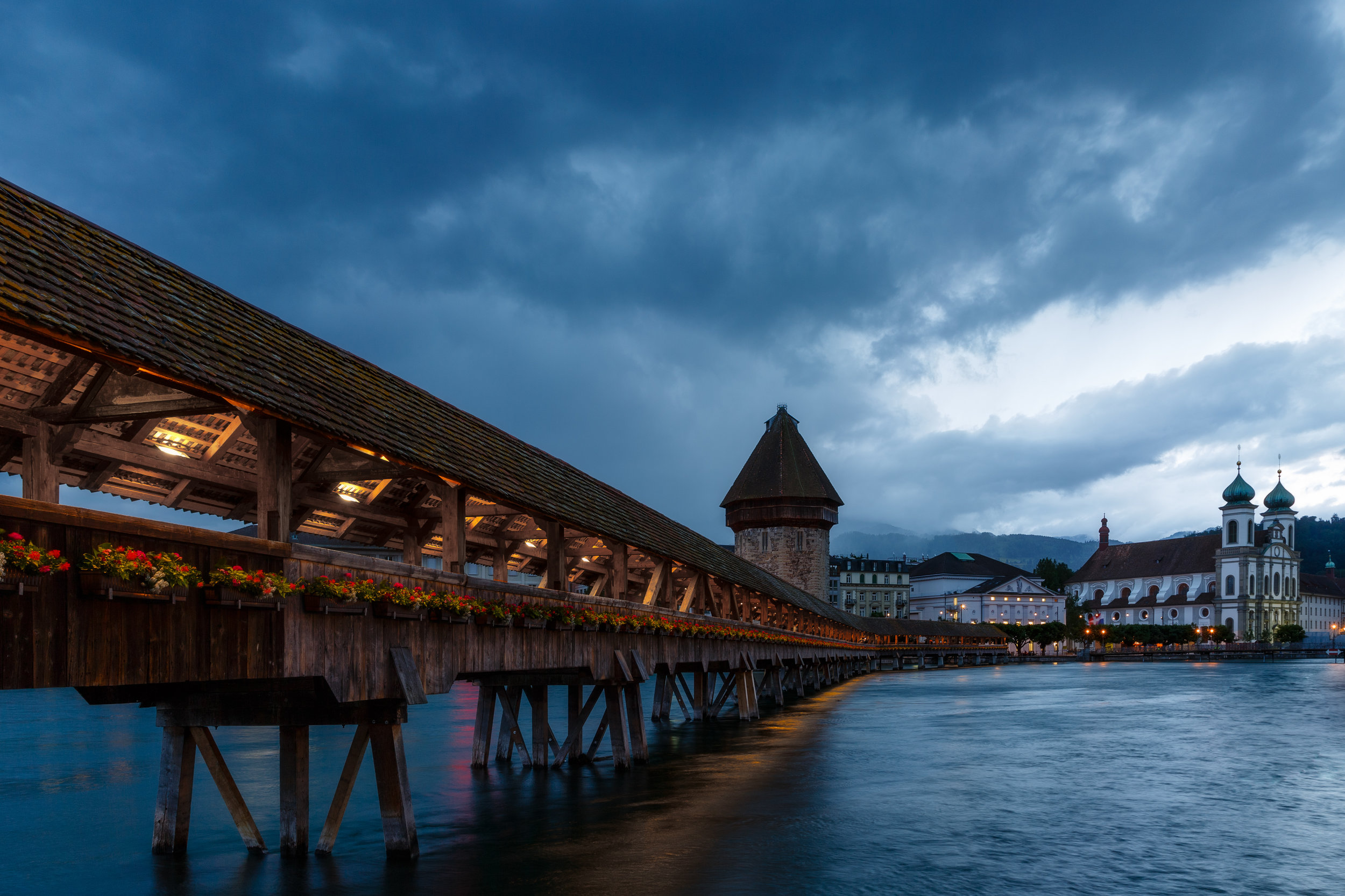 Rain descending on Lucerne and the Chapel Bridge