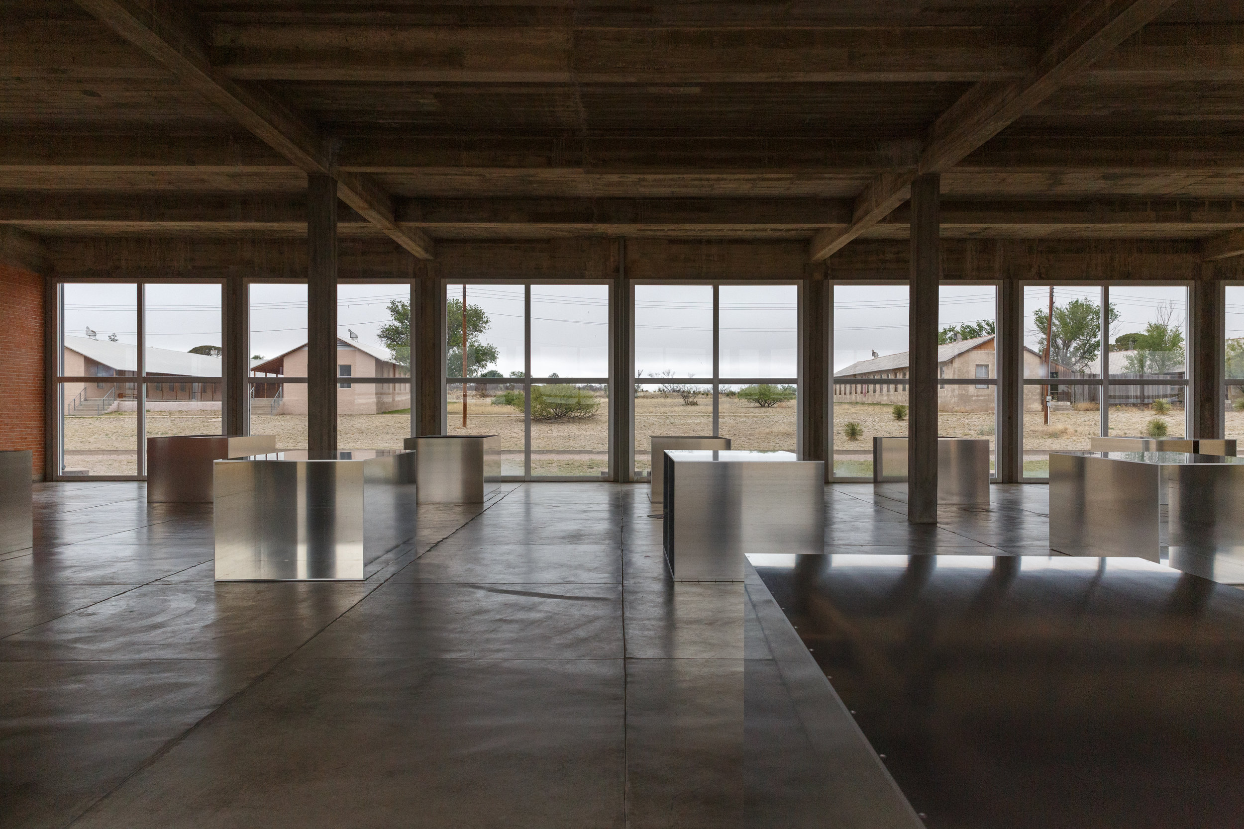"The highlight of the Chinati Foundation: Donald Judd's ""100 Boxes in Milled Aluminum"""