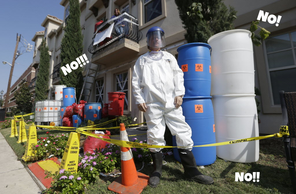 Tasteless Ebola House with homeowner in CDC costume