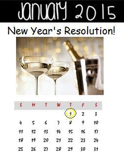 2015 New Year's Resolution calendar