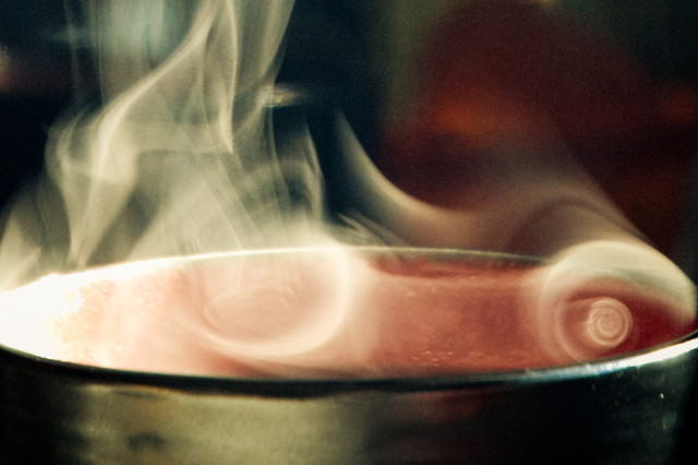 steaming hot cup of coffee