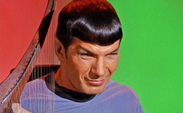 Spock playing Vulcan lute Leonard Nimoy