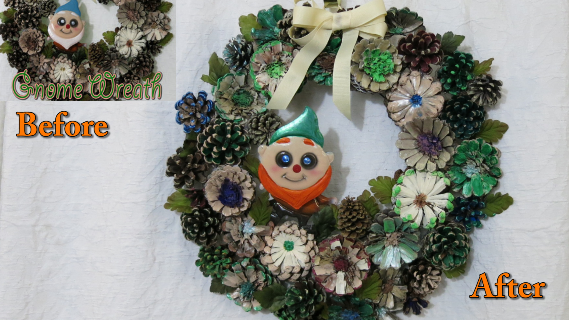 Recycle a Fall Wreath for St Patricks Day before after.jpg