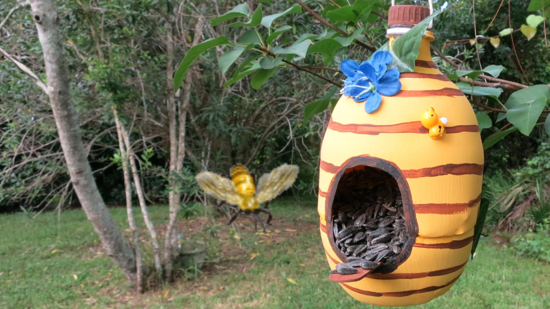 Bee Hive Bird House Recycled Bottle Bird Feeder.jpg