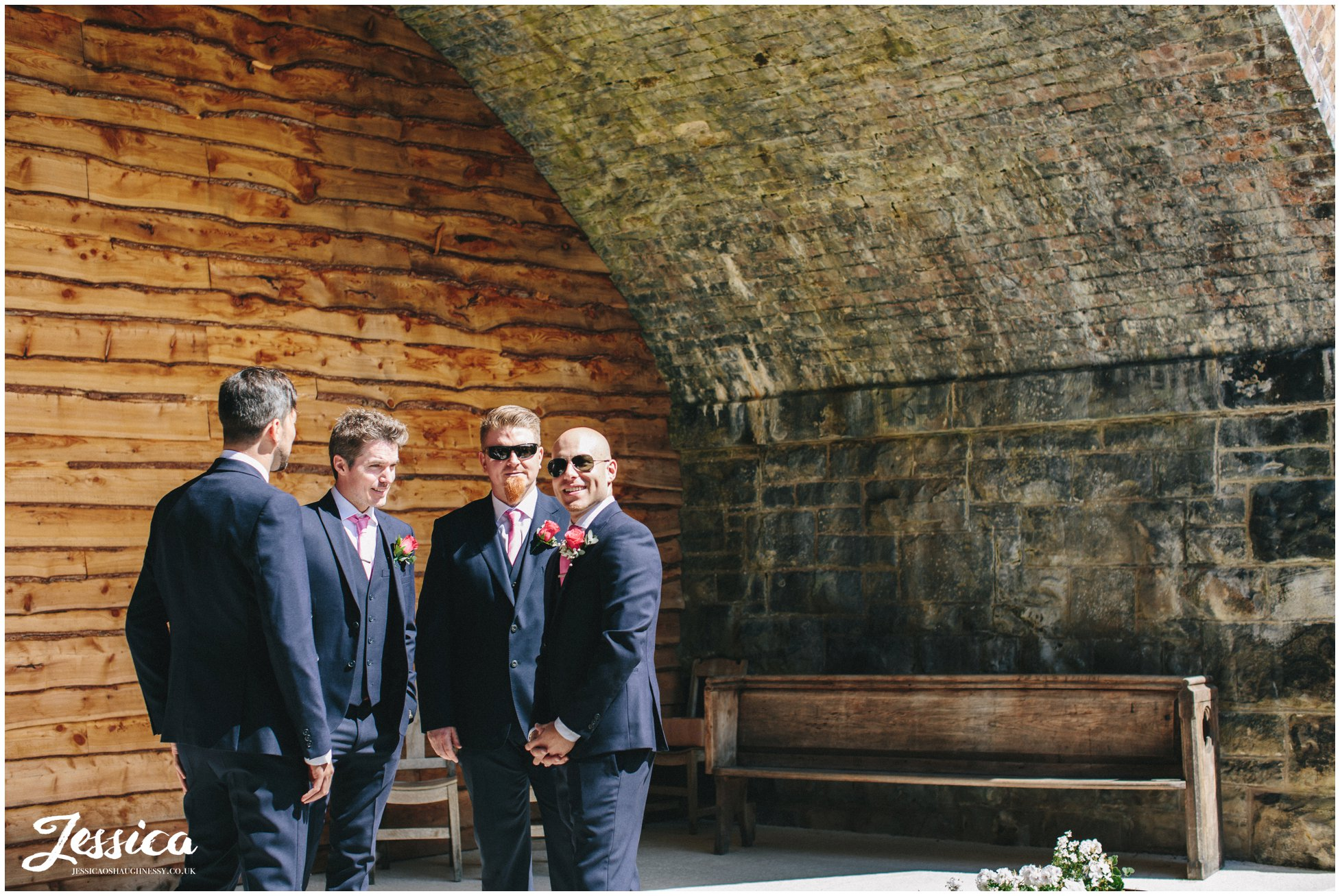 groom awaiting bride under the bridge - north wales wedding photographer