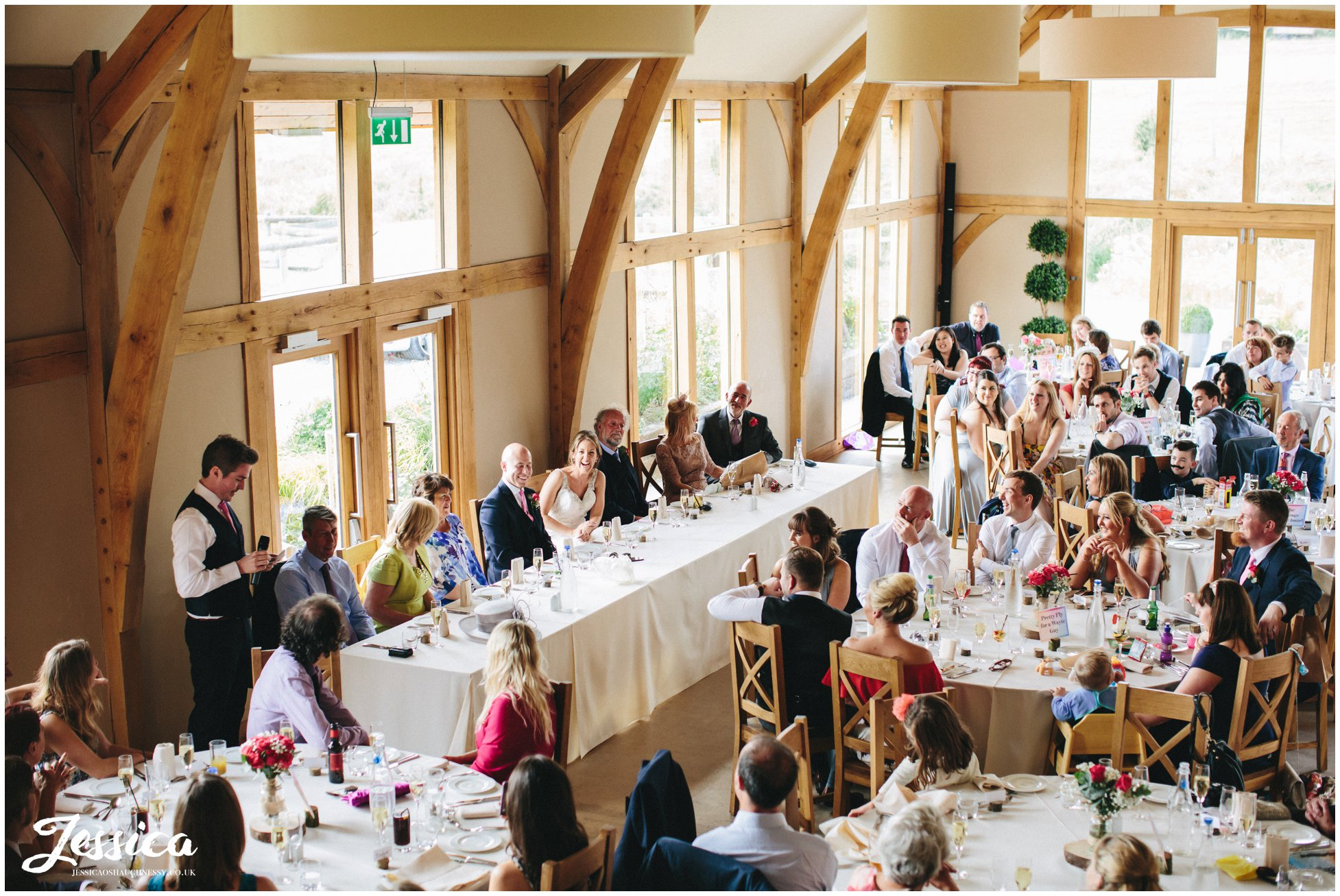 aerial view of best man giving his speech in the barn - north wales wedding photographer