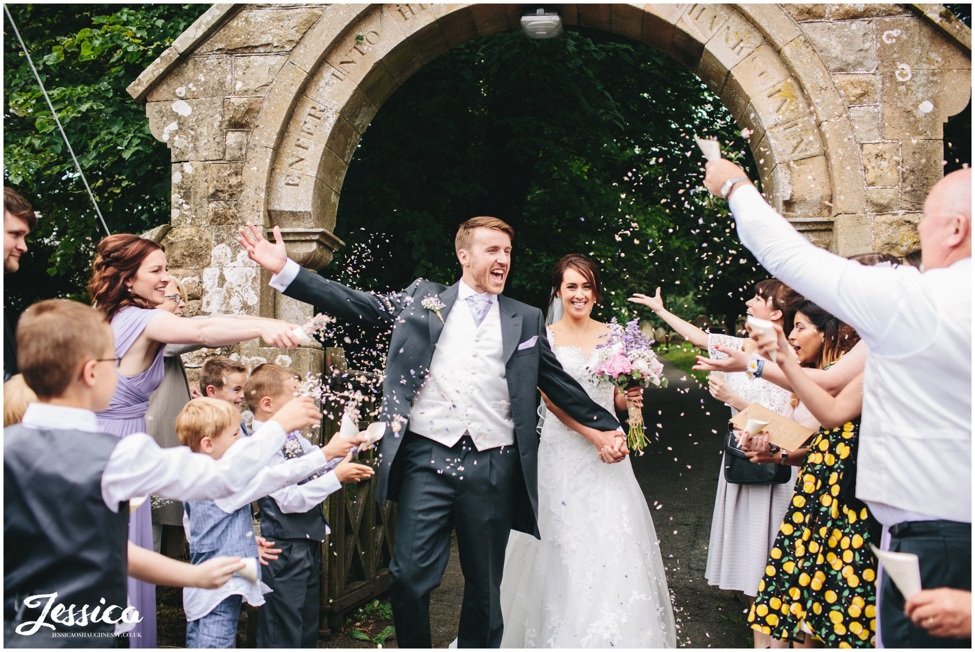 confetti thrown by guests in Cumbria
