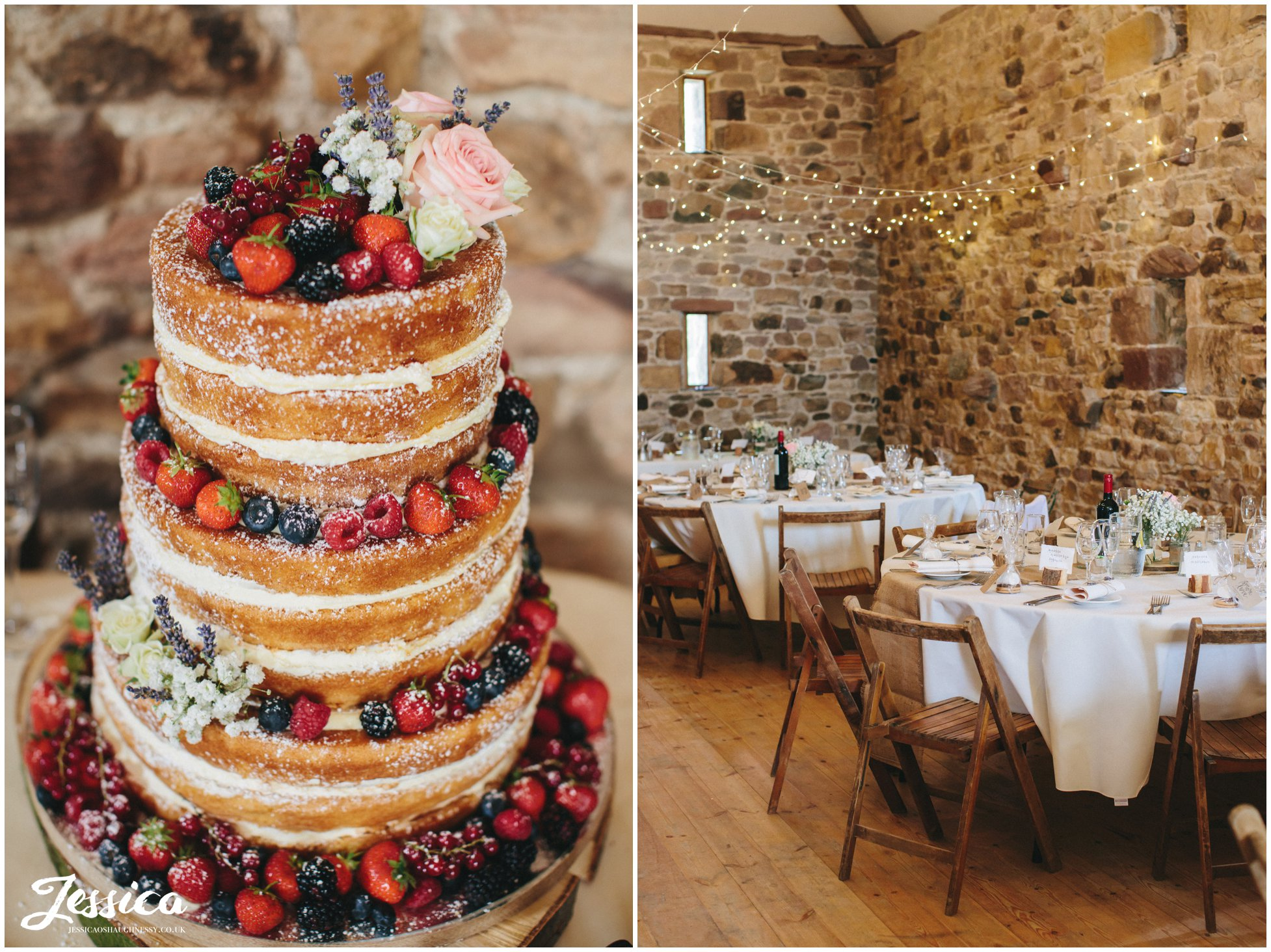 Naked cake decorated with fruit displayed in the rustic barn at Three Hills Barn, Cumbria