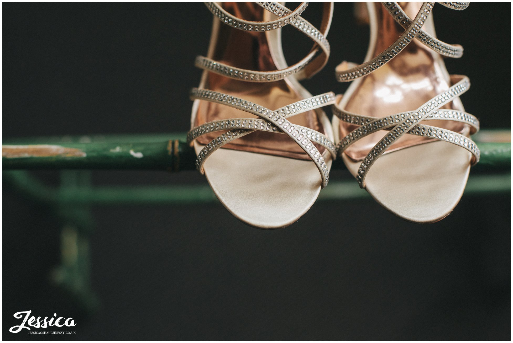 close up of brides shoes taken at Askham Hall in Penrith