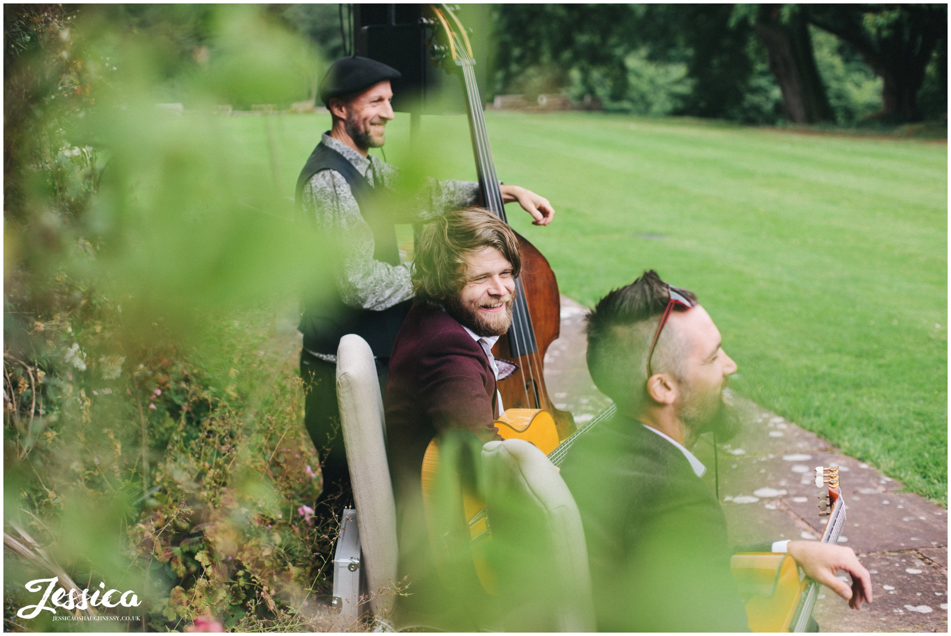 band play music outside askham hall for a wedding in the lake district