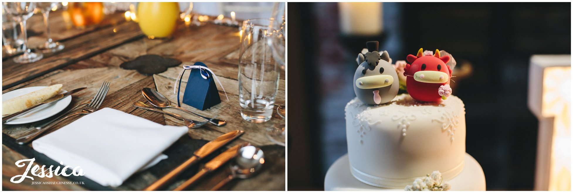 close up of the wedding details at on the 7th