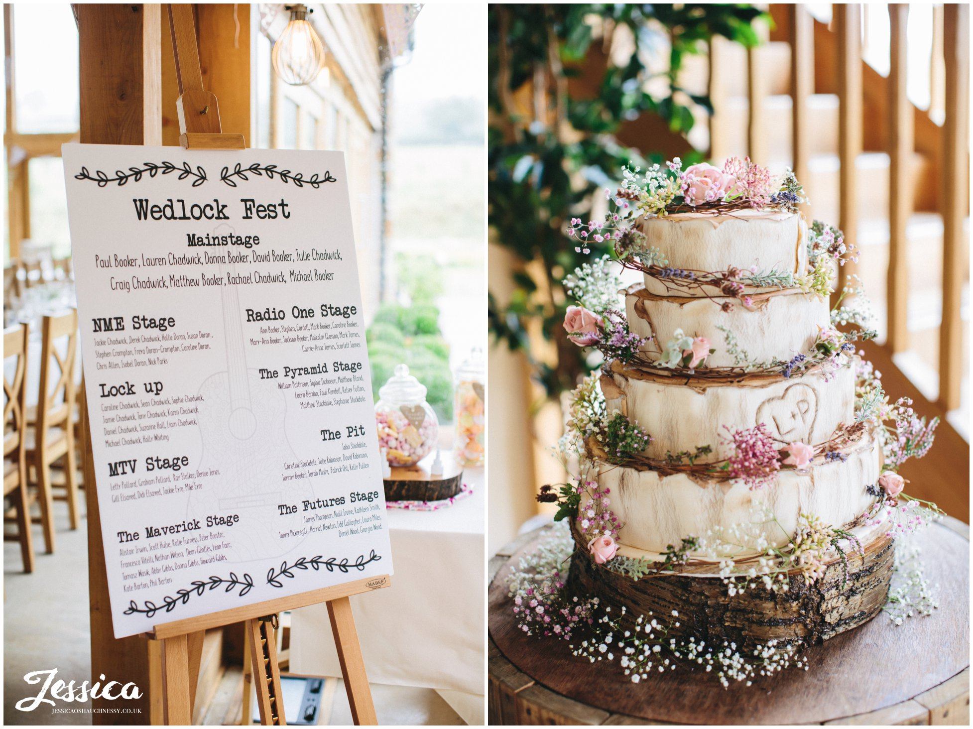 rustic cake and seating plan decorate the barn