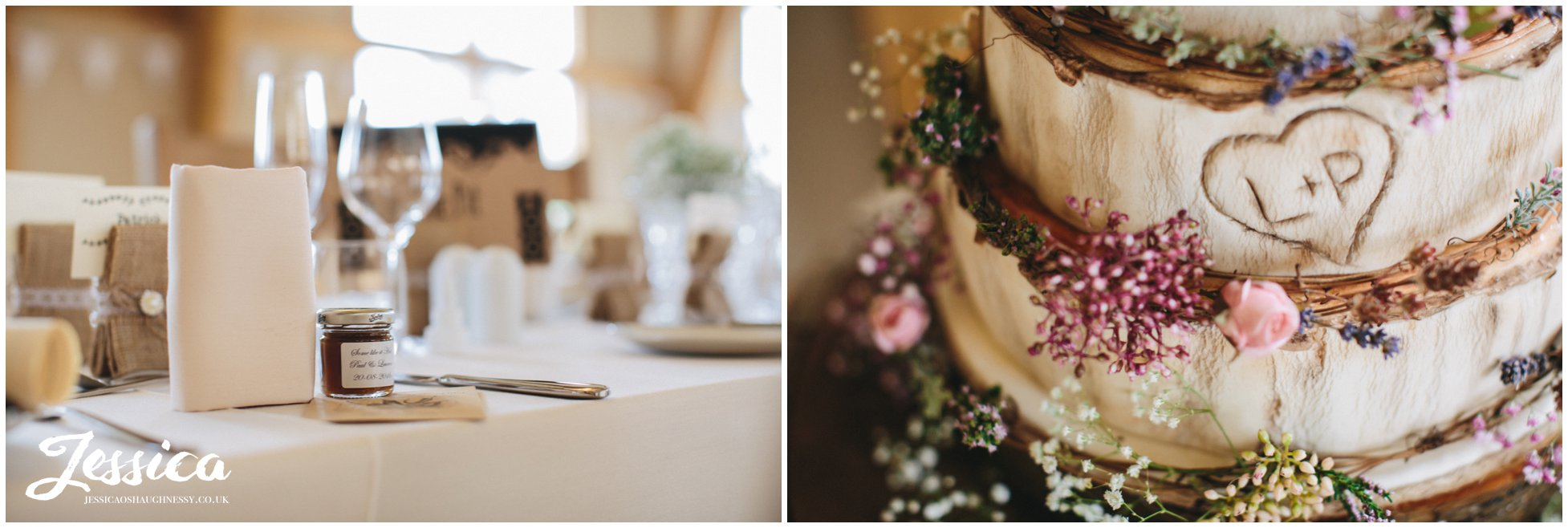 close up of rustic wedding details at a north wales wedding
