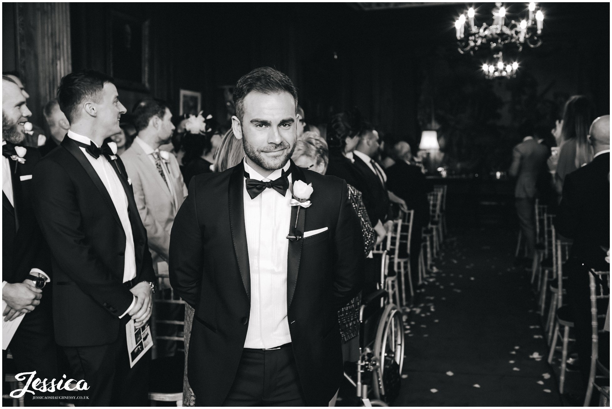 groom awaits his bride in thornton manor