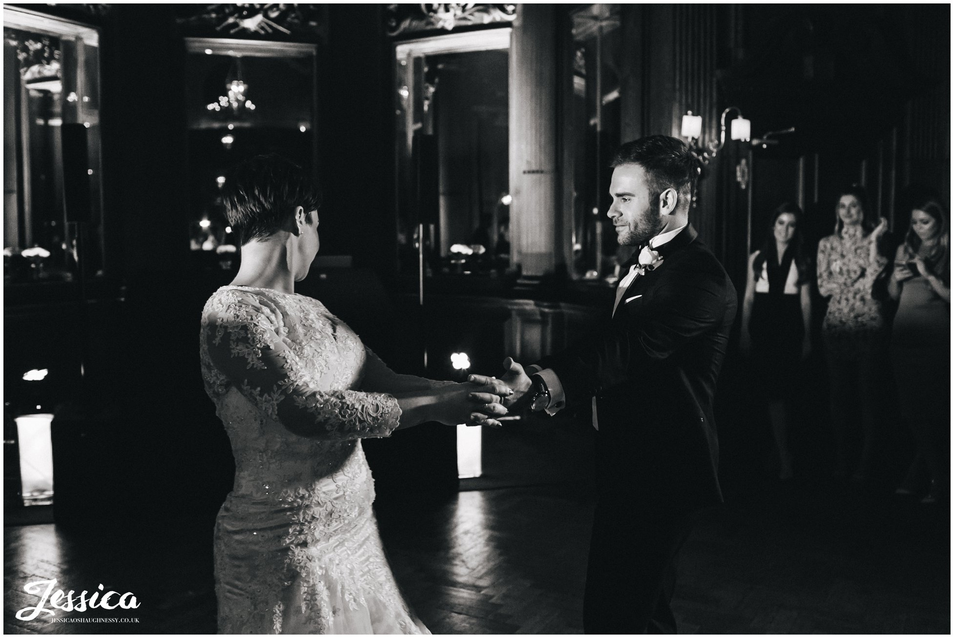 black and white photo of the first dance at a thornton manor wedding