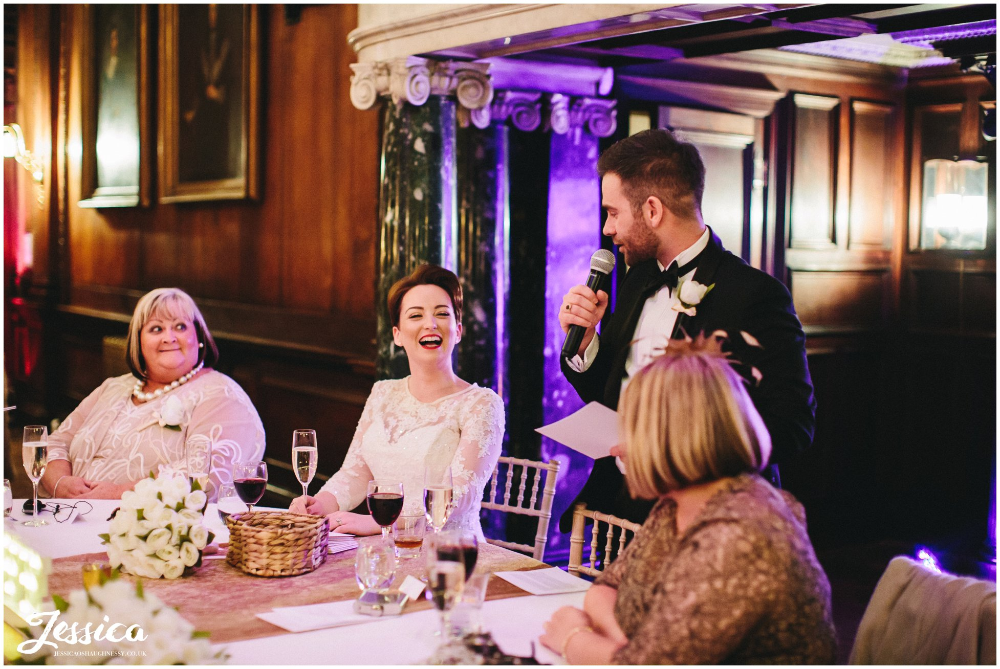 groom gives speech on his wedding day at thornton manor
