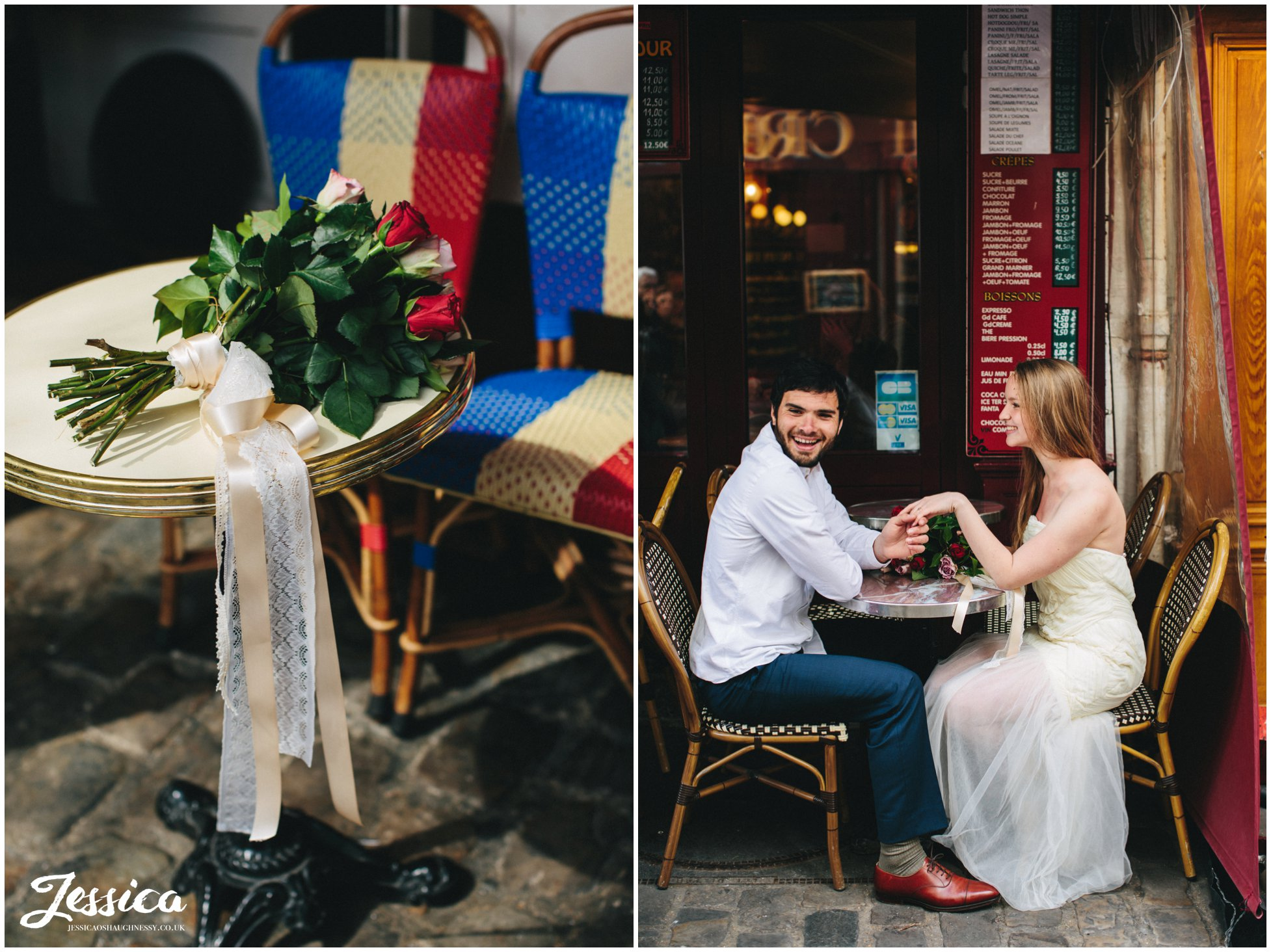 Newly Wed's sitting outside a cafe in mont marte, paris