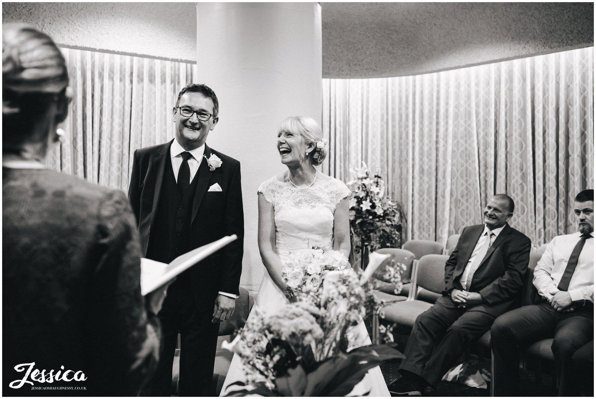 bride & groom at their wedding in chester registry office