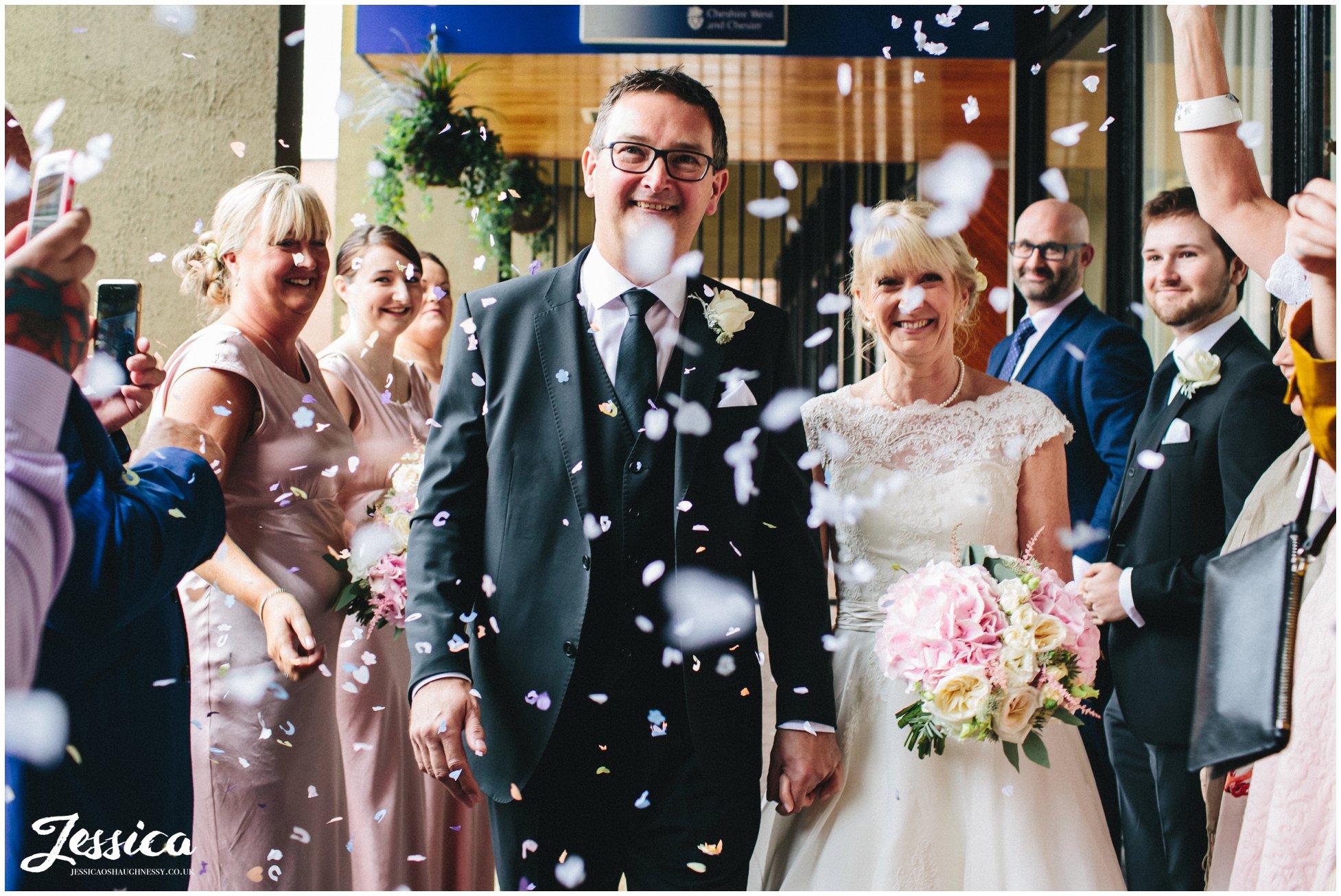 confetti line at a chester wedding