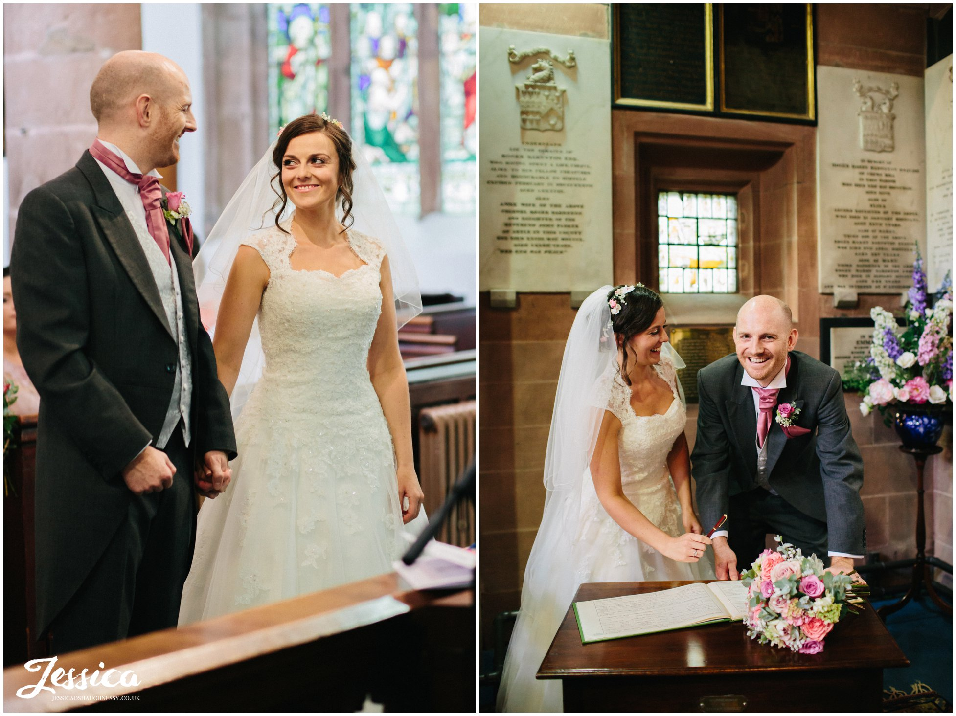 bride & groom during their ceremony at farndon church