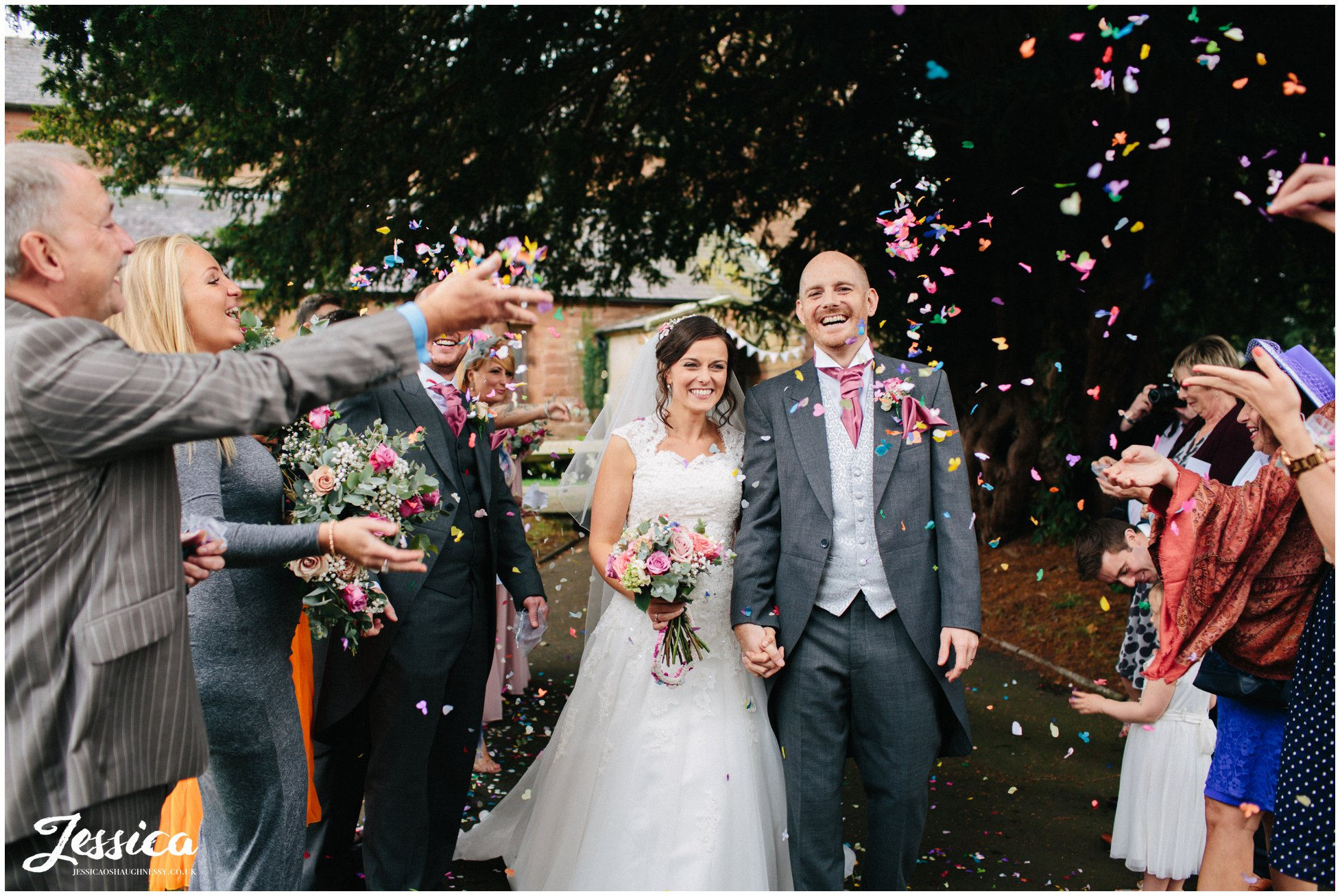 colourful confetti lin at st chad's church in farndon, chester