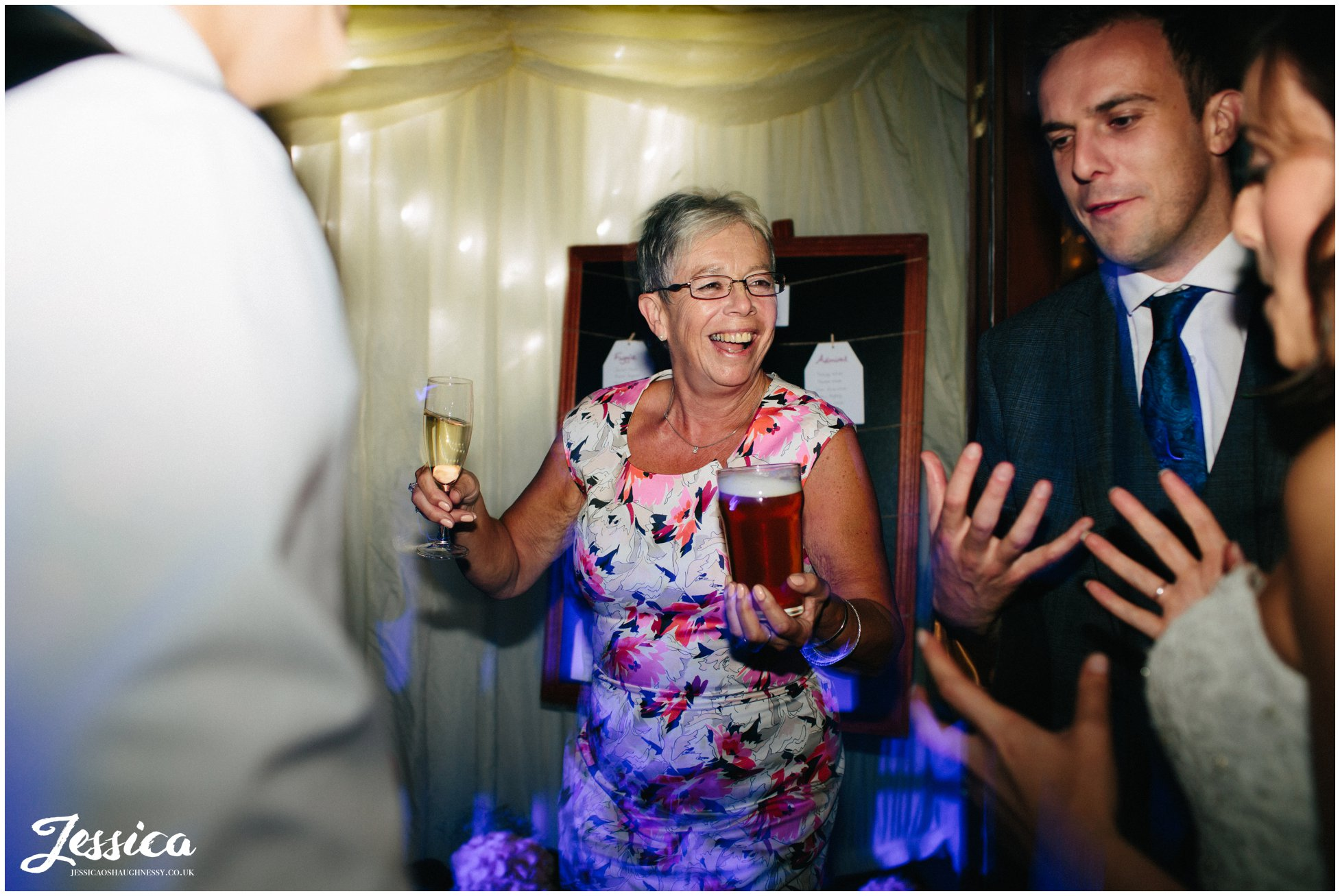 mother of the groom dancing at her sons wedding reception in chester