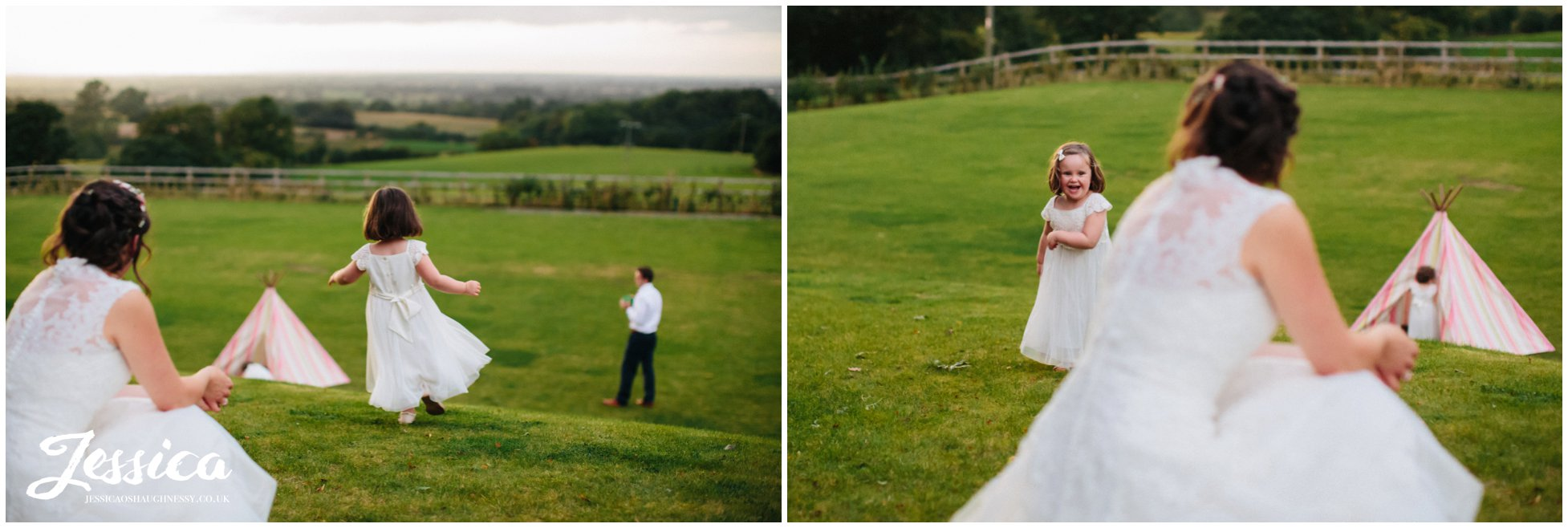 flower girls play on the field at a wedding at harthill weddings, the success factory