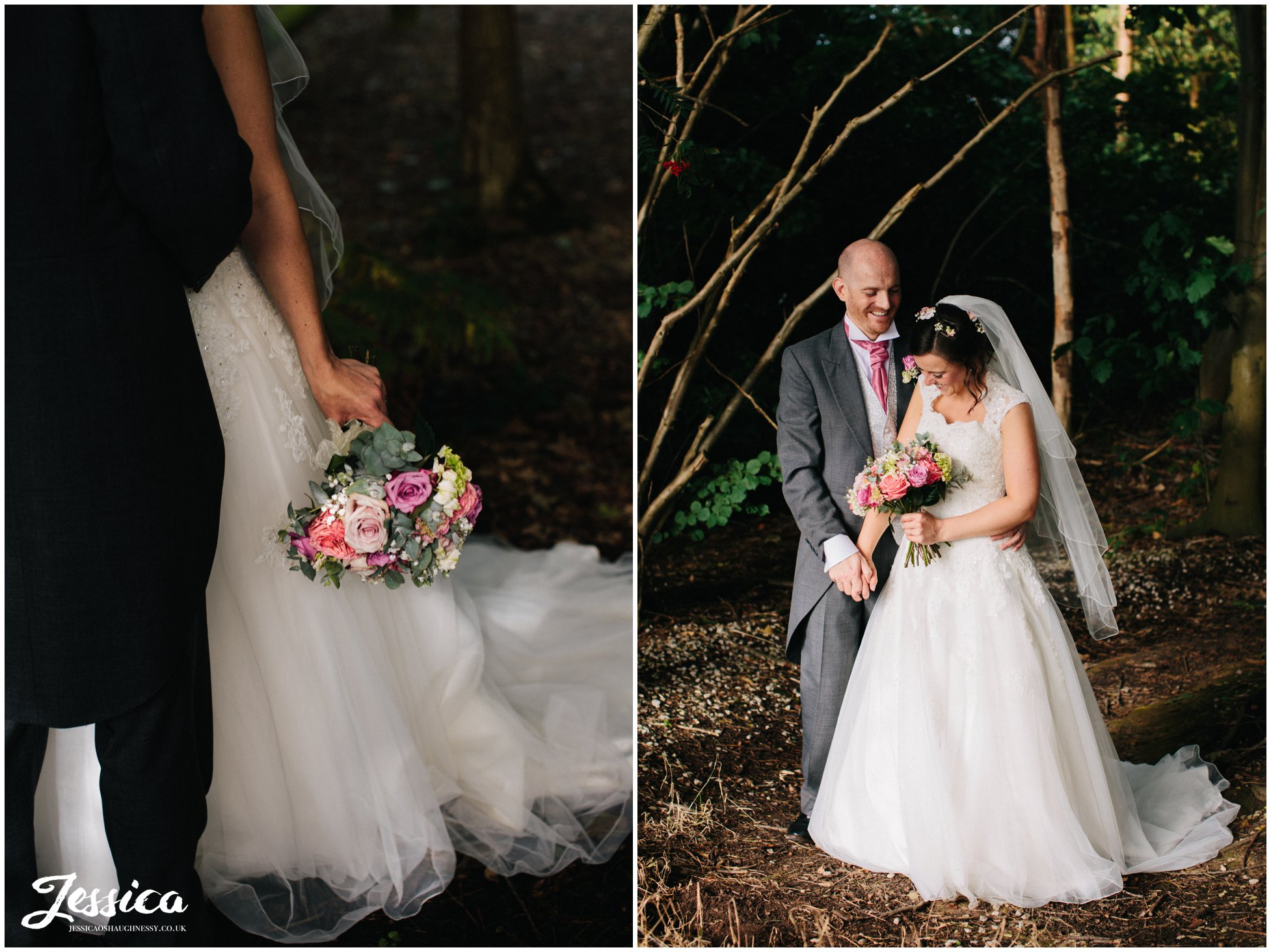 photographs of the bride & groom in the forest at harthill weddings