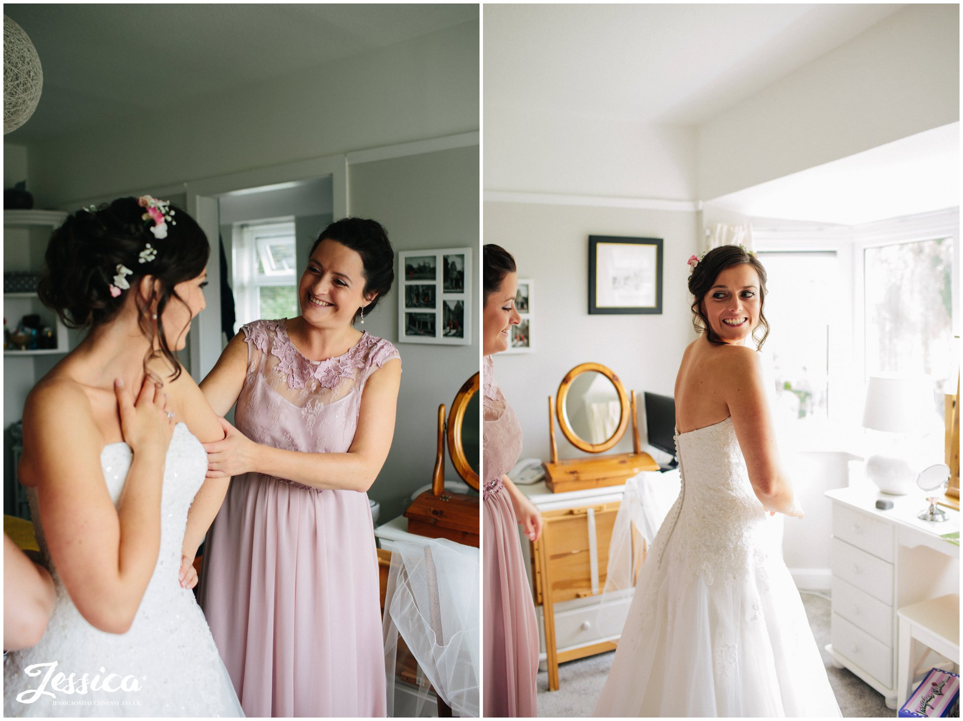 bridesmaids help bride into her wedding dress - cheshire wedding photography