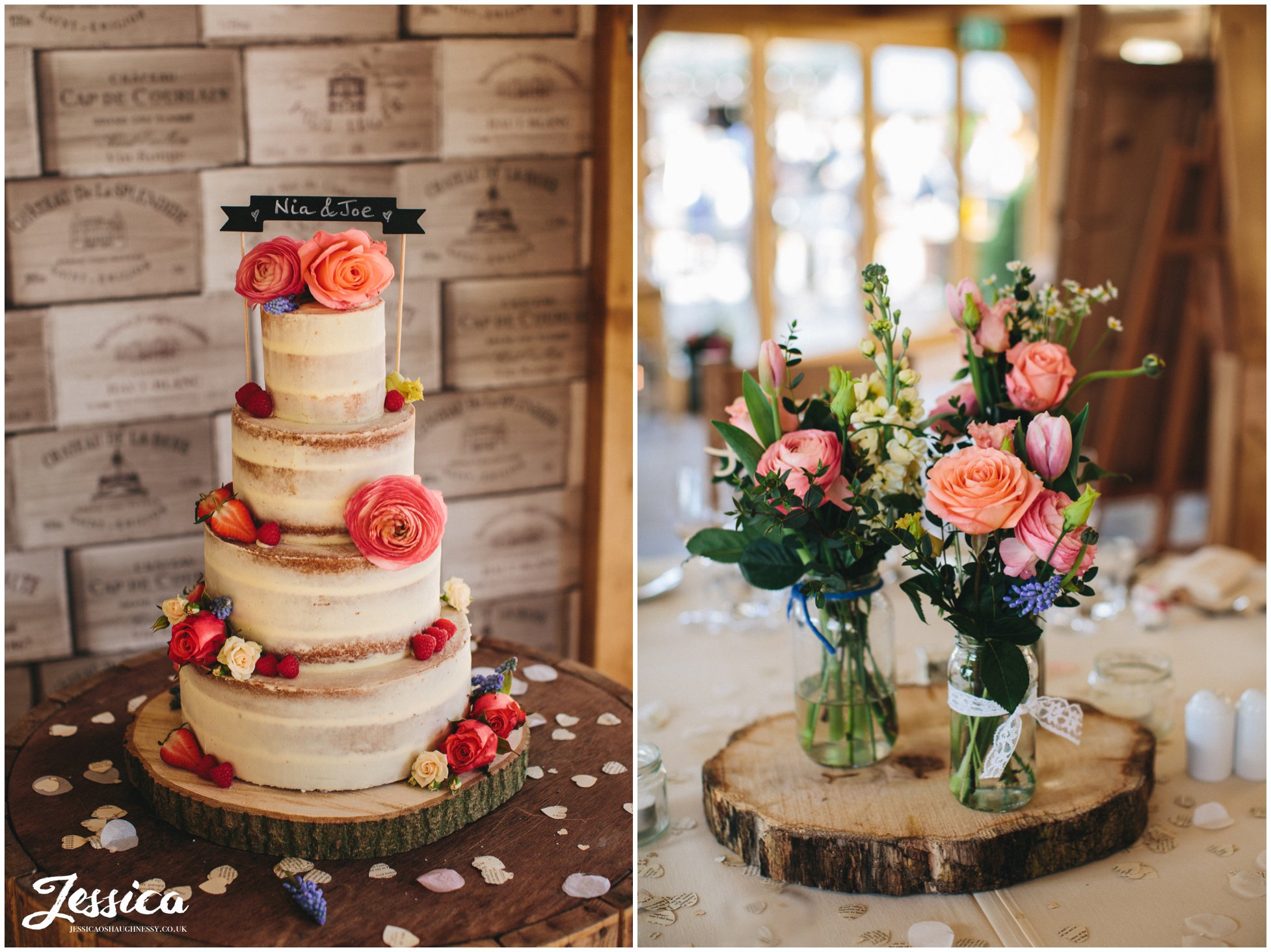 rustic naked cake and flowers decorate the barn - tower hill barns