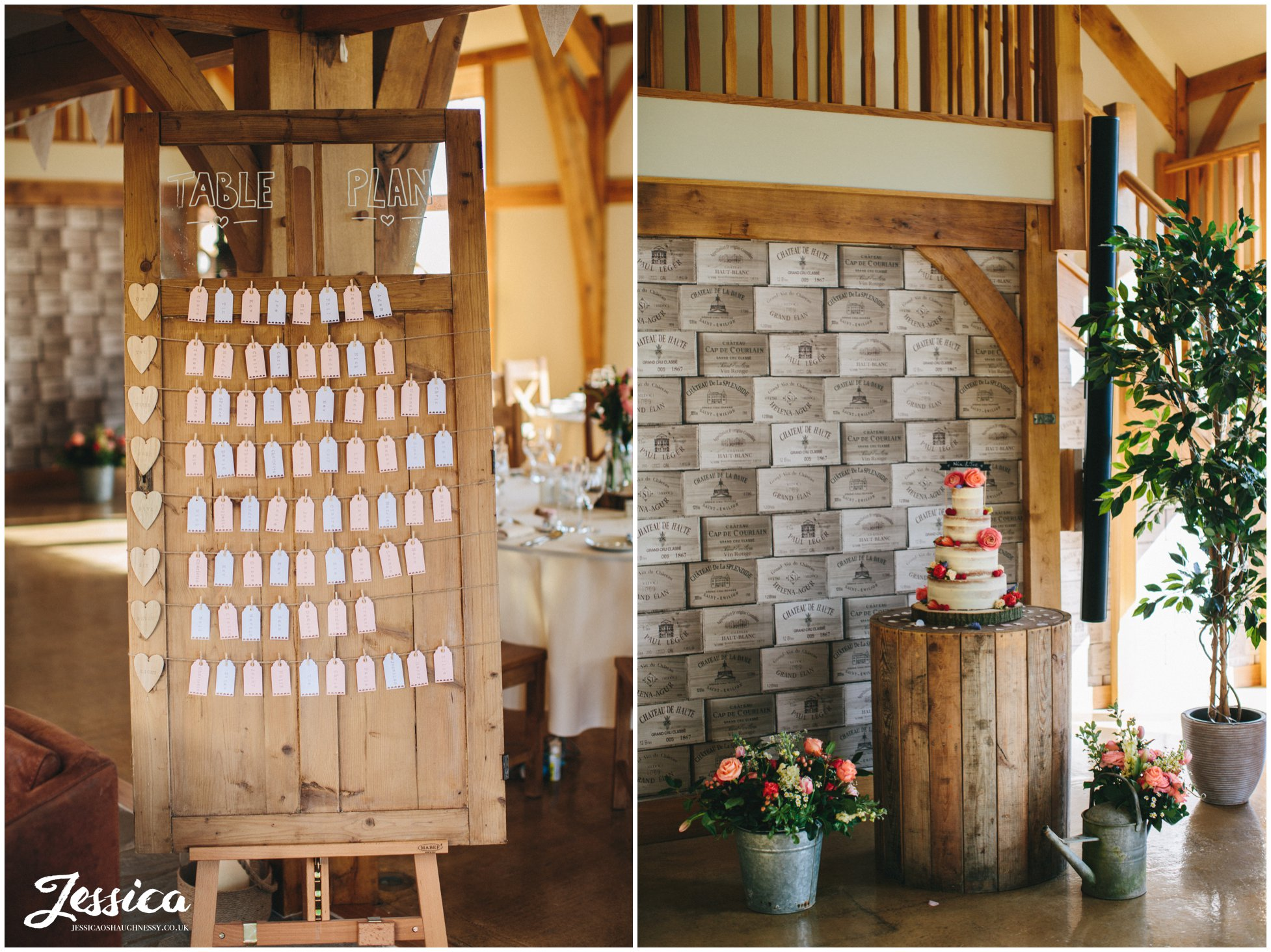 tower hill barns wedding - detail shot of table plan and cake