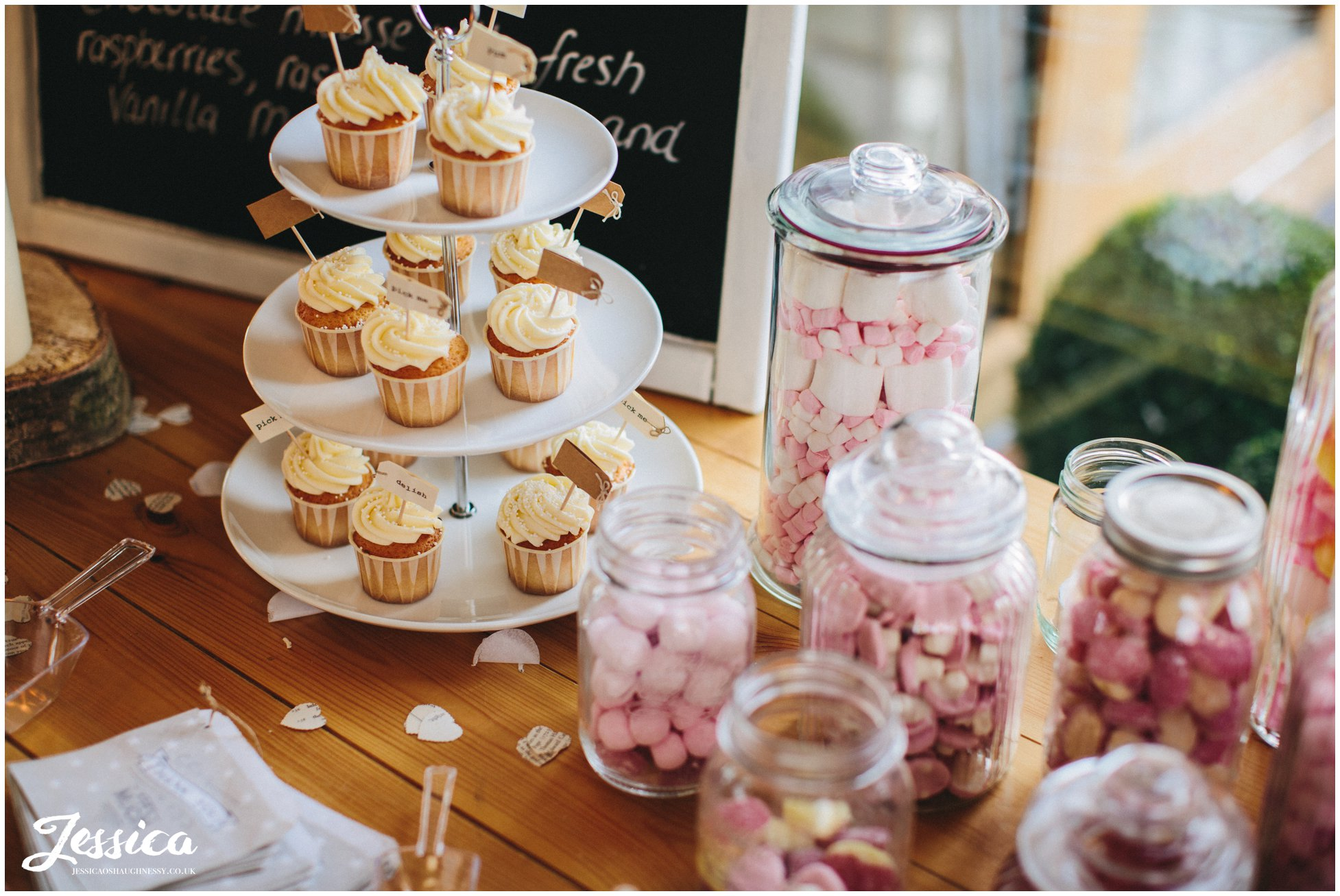 cupcakes provided for guests at the wedding reception in north wales