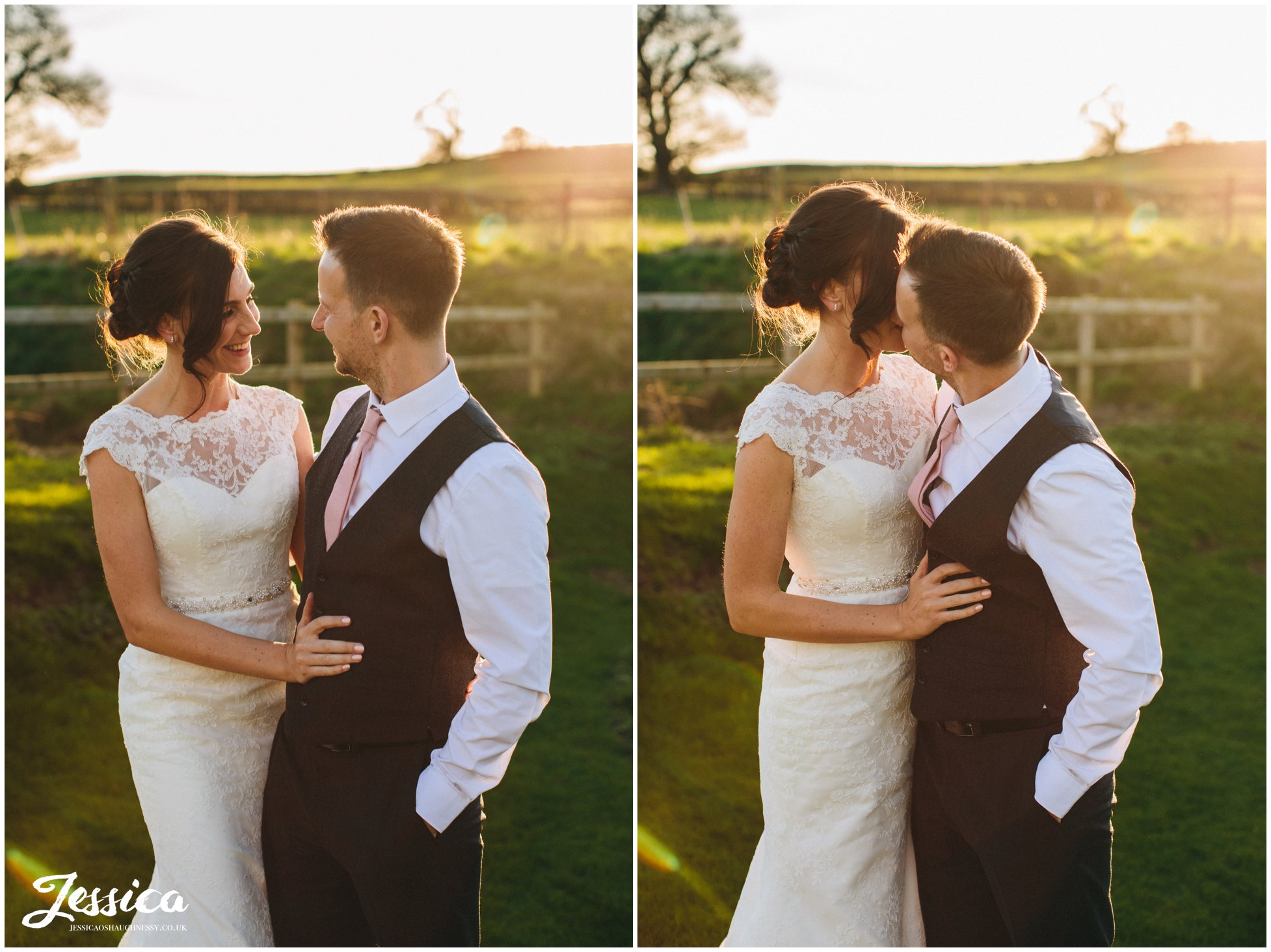 couple embrace on their wedding day in wrexham, north wales