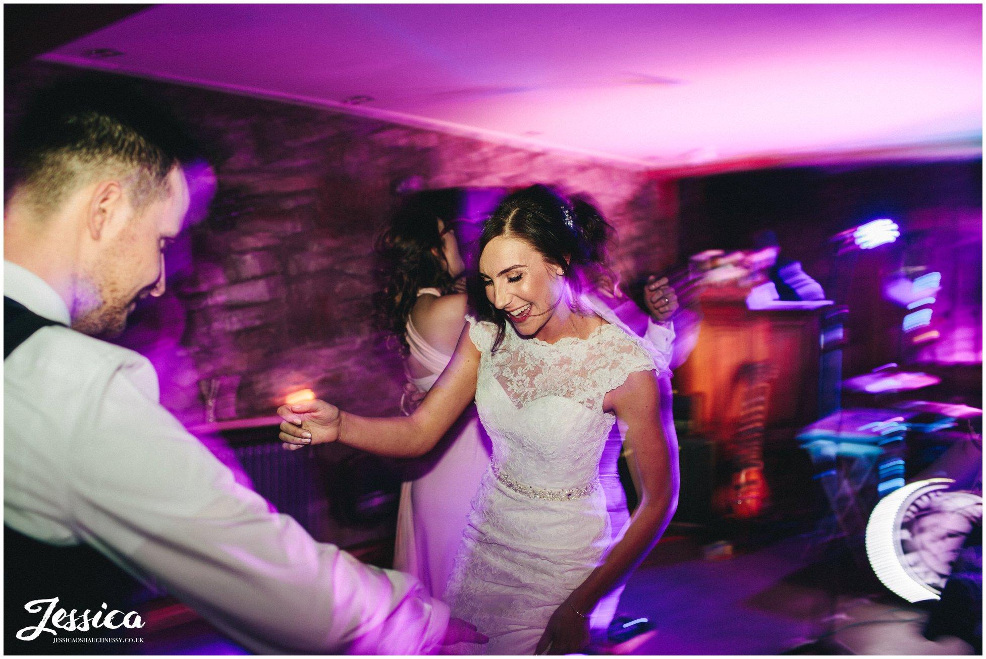 bride & groom dance on their tower hill barns wedding reception