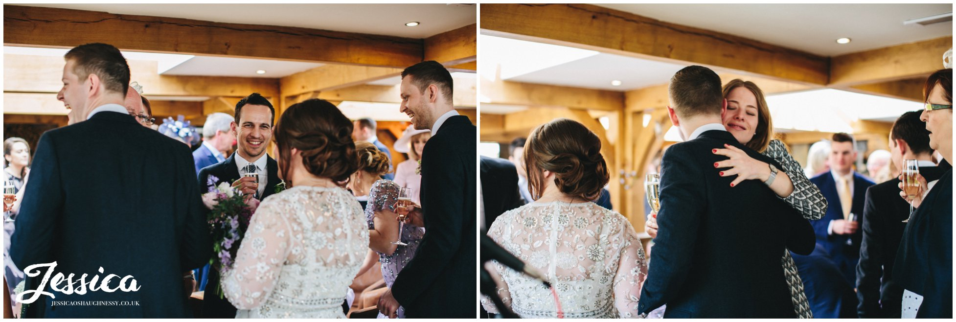 guests congratulation newly wed's after their ceremony