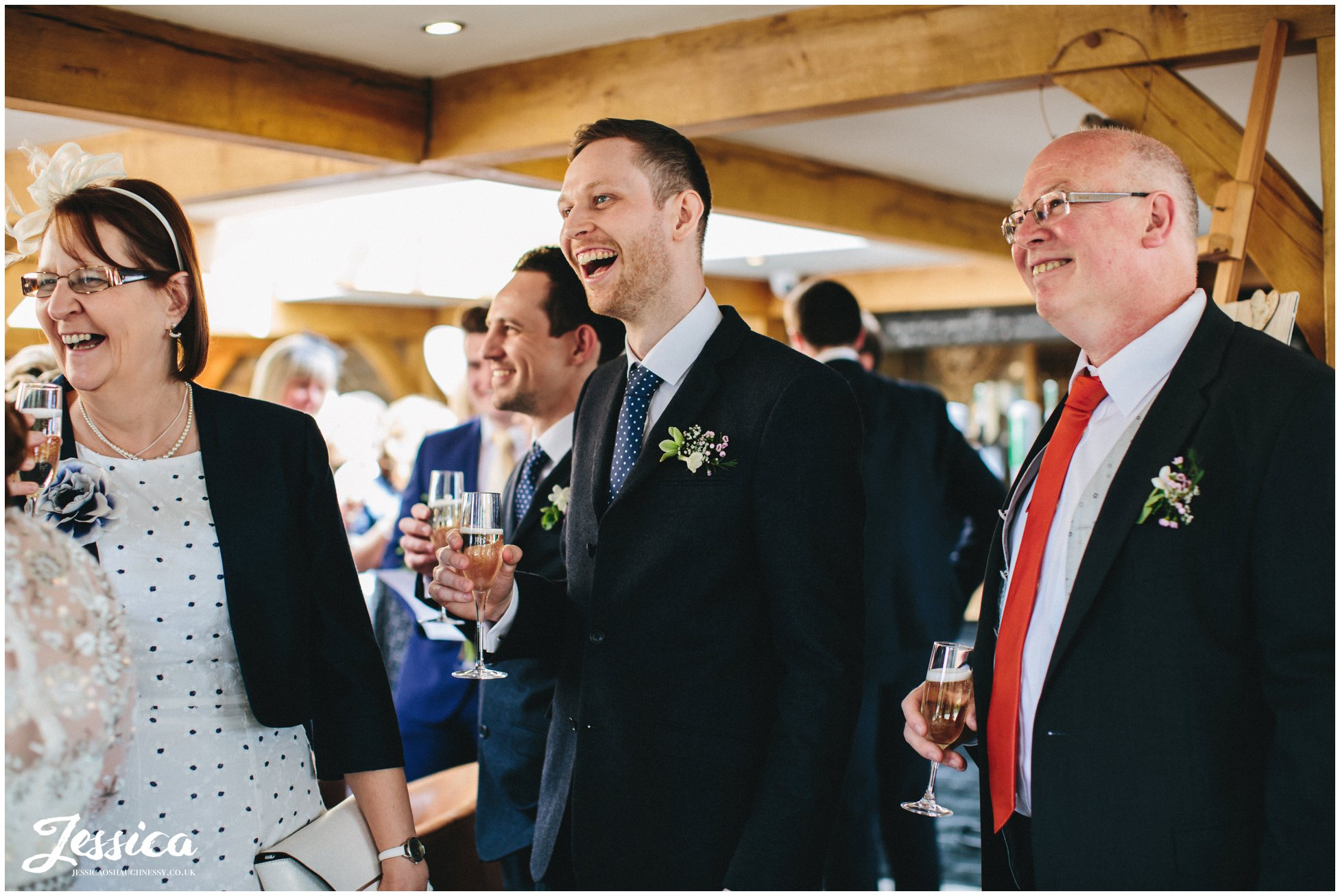guests celebrating at tower hill barns in north wales