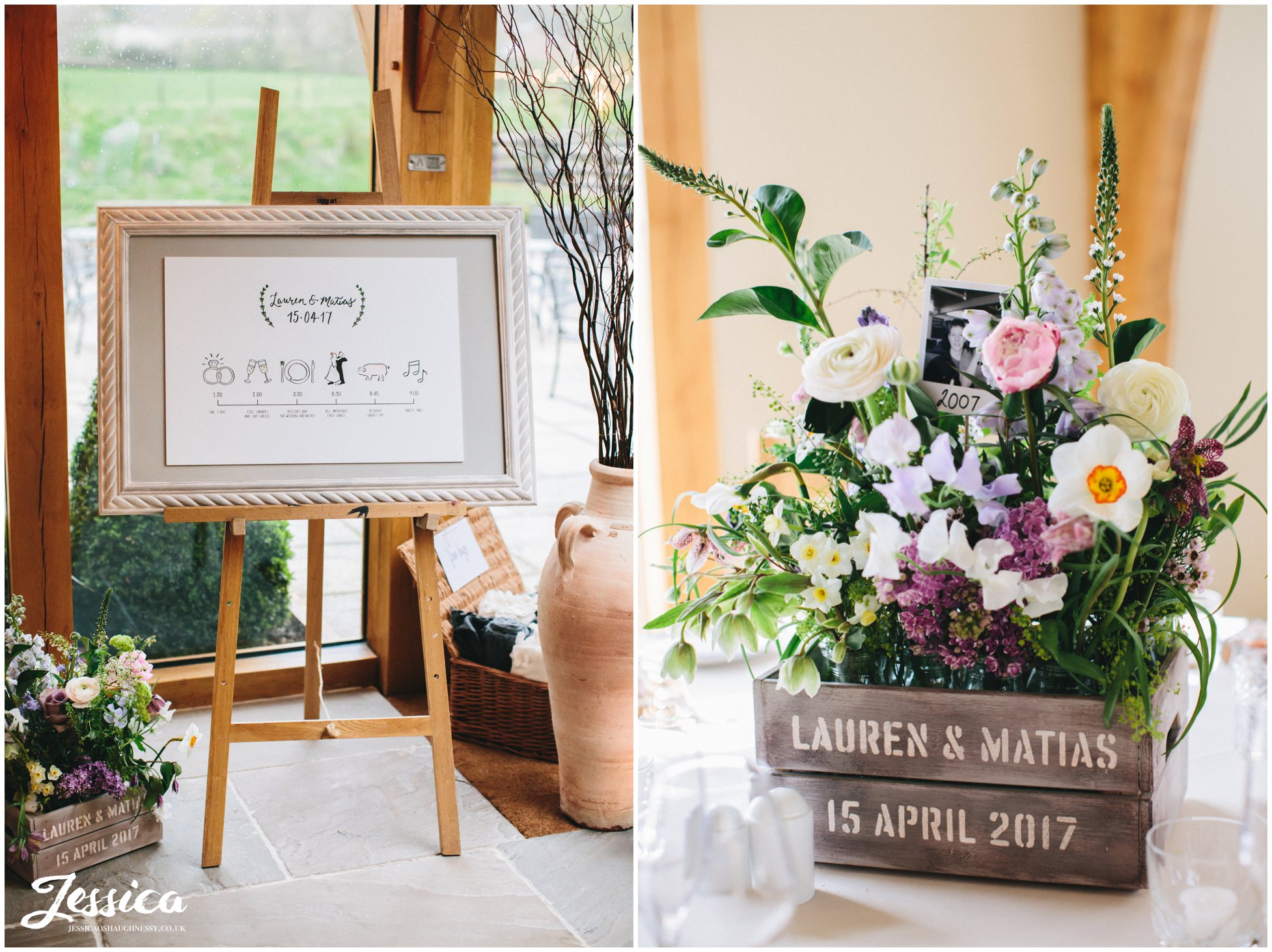 wedding timetable and flower decorate tower hill barns