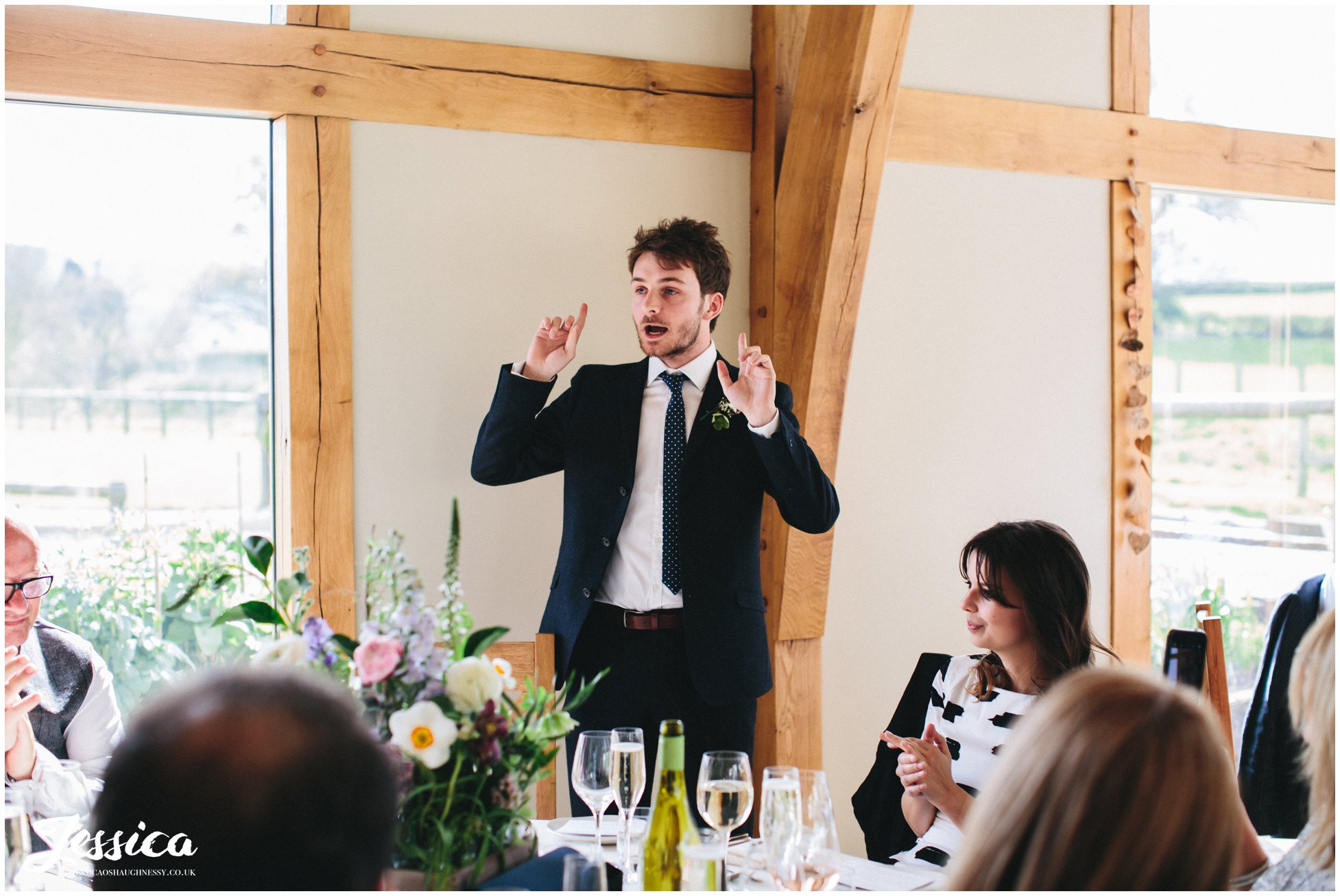 bride's brother delivering his speech