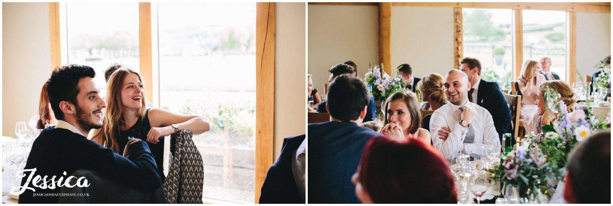 guests enjoying the speeches in the new barn