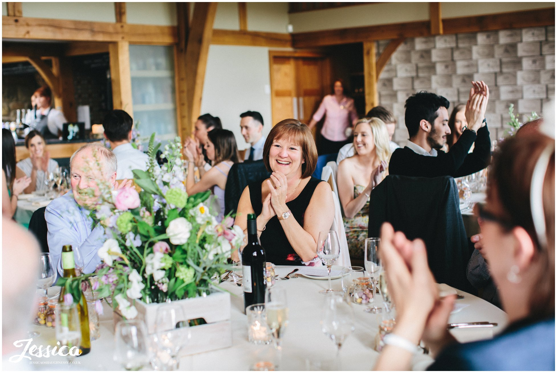 north wales wedding - guests clapping after the speeches end